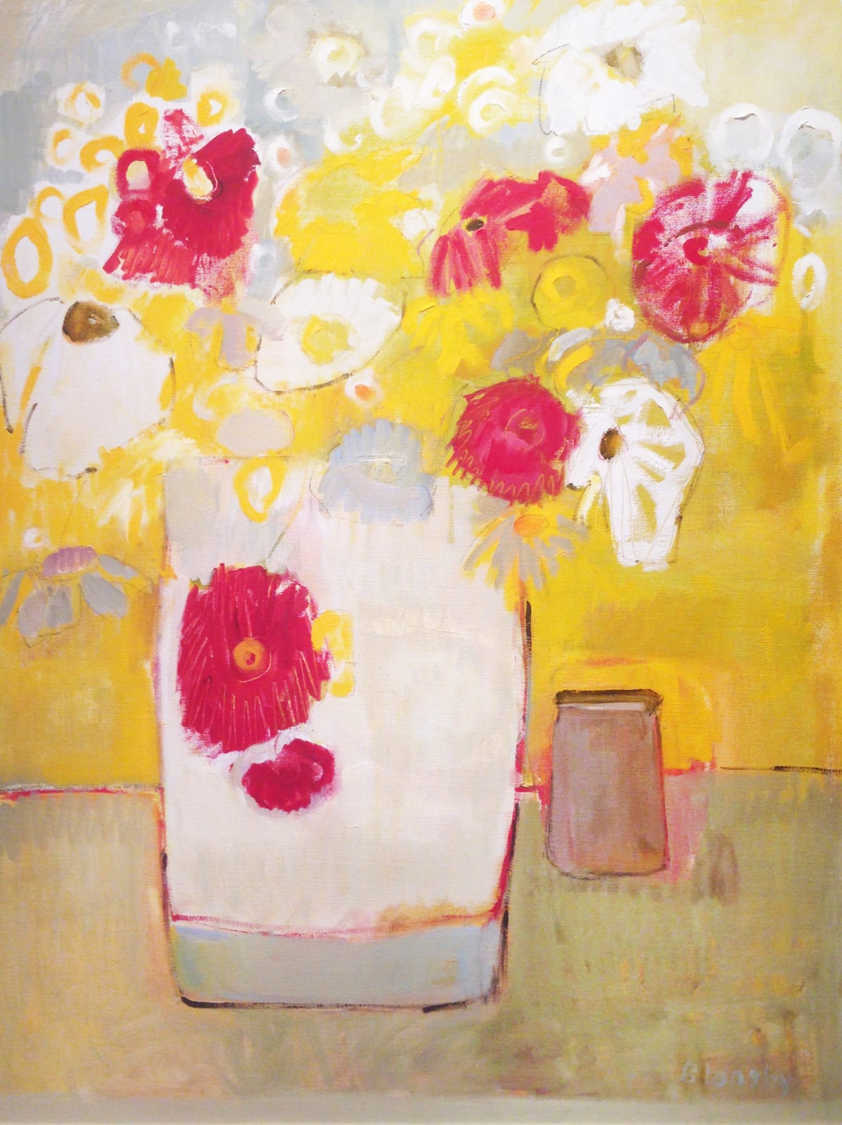Bridget Lansley The Yellow Room Signed Oil on Canvas 40 x 30 in 101.6 x 76.2 cms