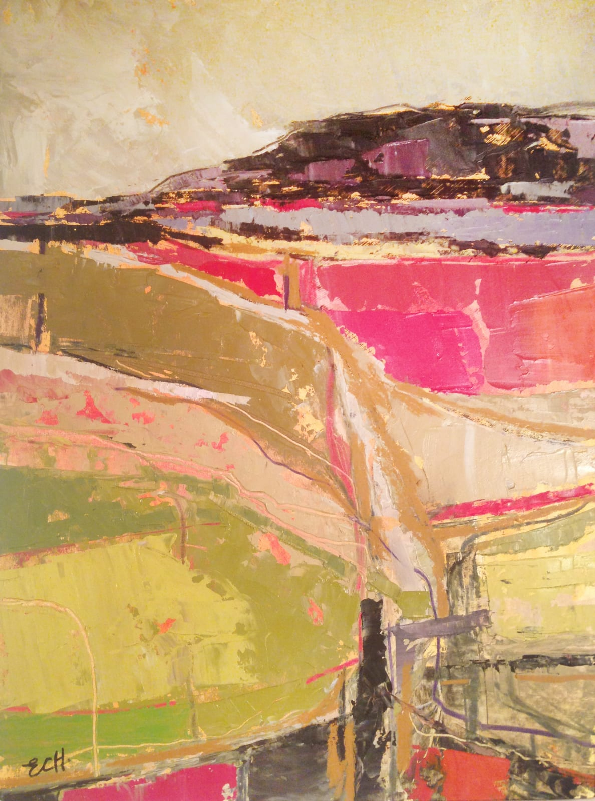 Emma Haggas Across the Fields Signed Oil on board 19 3/4 x 14 5/8 in 50 x 37 cms