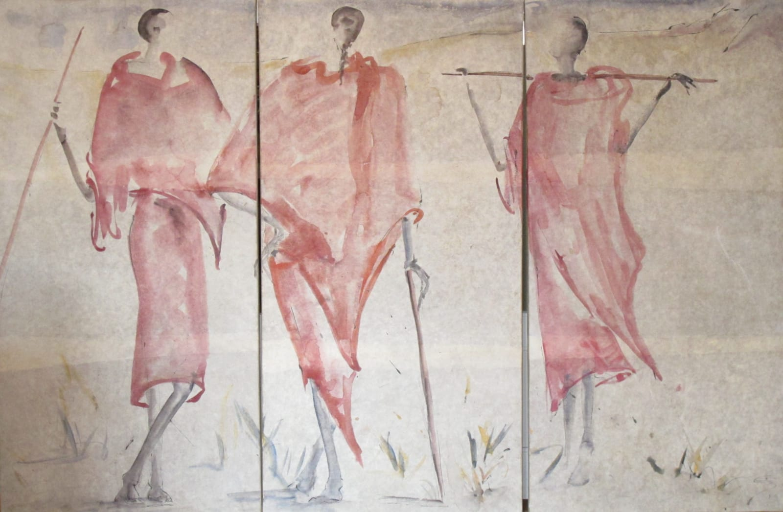 Christine Seifert Maasai resting (Triptych) Signed Watercolour on paper laid onto canvas 51 5/8 x 70 7/8 in 131 x 180 cms