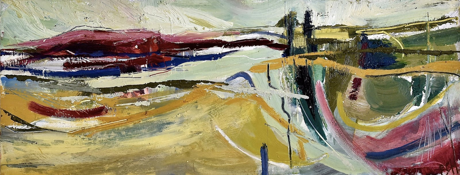 Emma Haggas, Abstract Landscape with Two Pine Trees