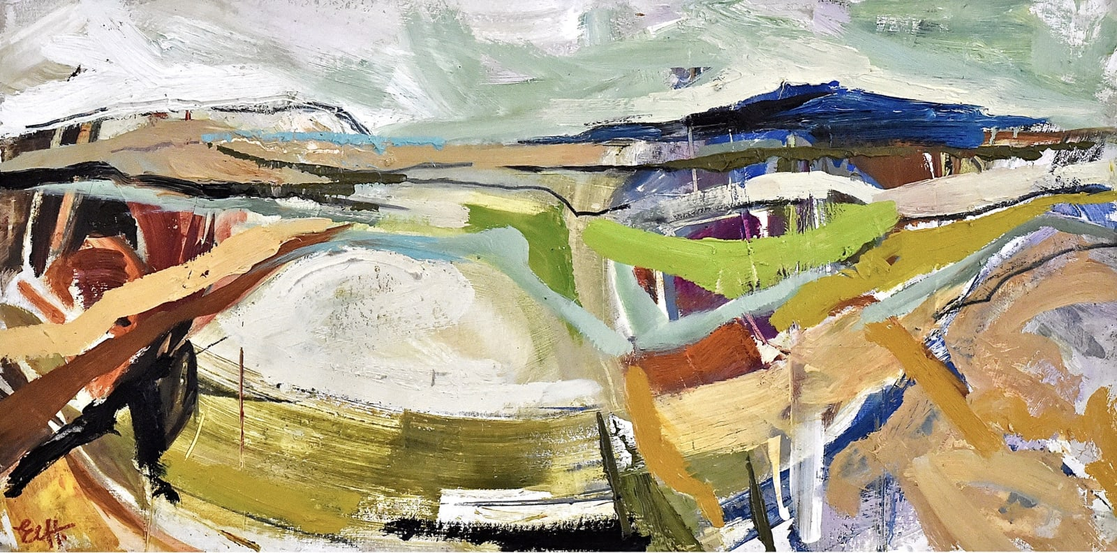 Emma Haggas, Abstract Landscape with Turqouise