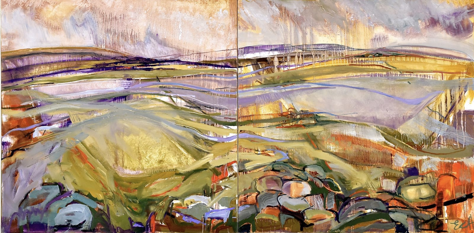 Emma Haggas Moorland View from Cheesewring at Minions, Cornwall (Diptych)