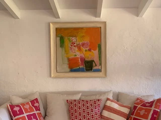 Chloe Lamb's colourful abstract paintings work well in many locations including hot destination holiday homes