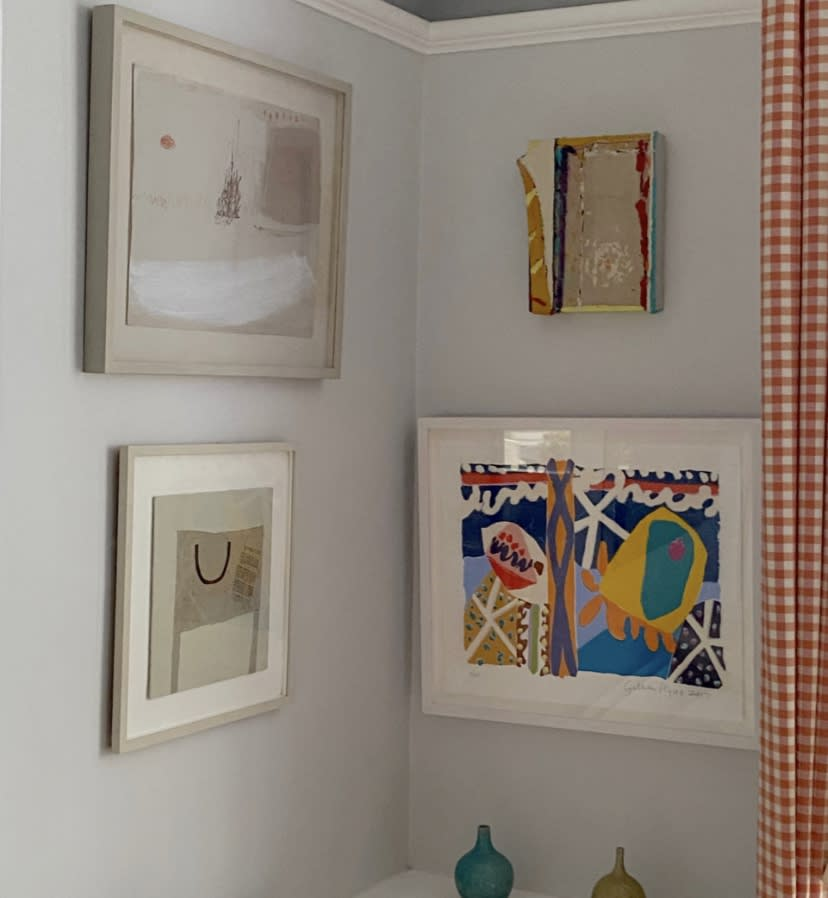 Jenny Locks subtle abstracts hang easily alongside Gillian Ayres and Anthony Frost