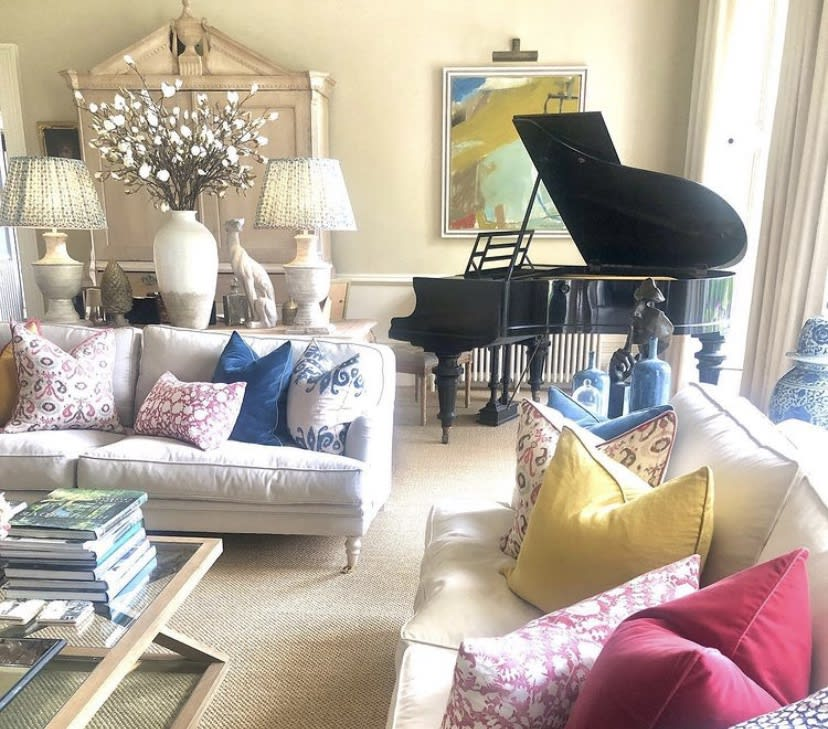 An abstract Chloe Lamb goes perfectly with the Interior Design of this room