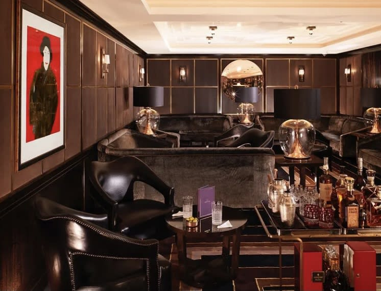 Kate Boxer drypoints adorn the interior of Flemings in the West End - Agatha Christie is on the left in Red