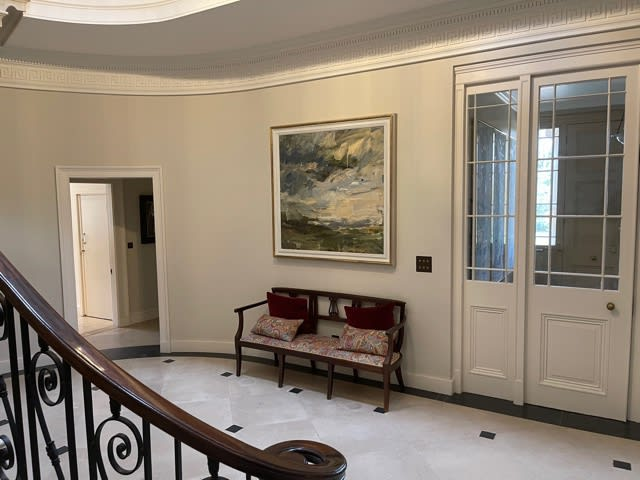 Louise Balaam abstract landscape in hallway of newly refurbished house in Wiltshire