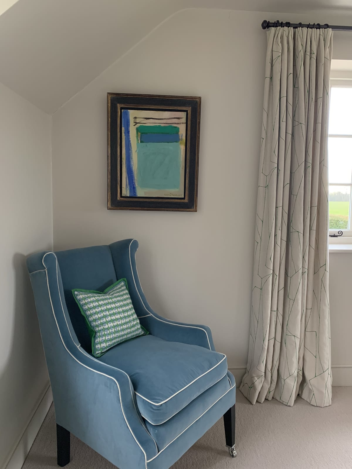 An abstract Chloe Lamb in a bedroom