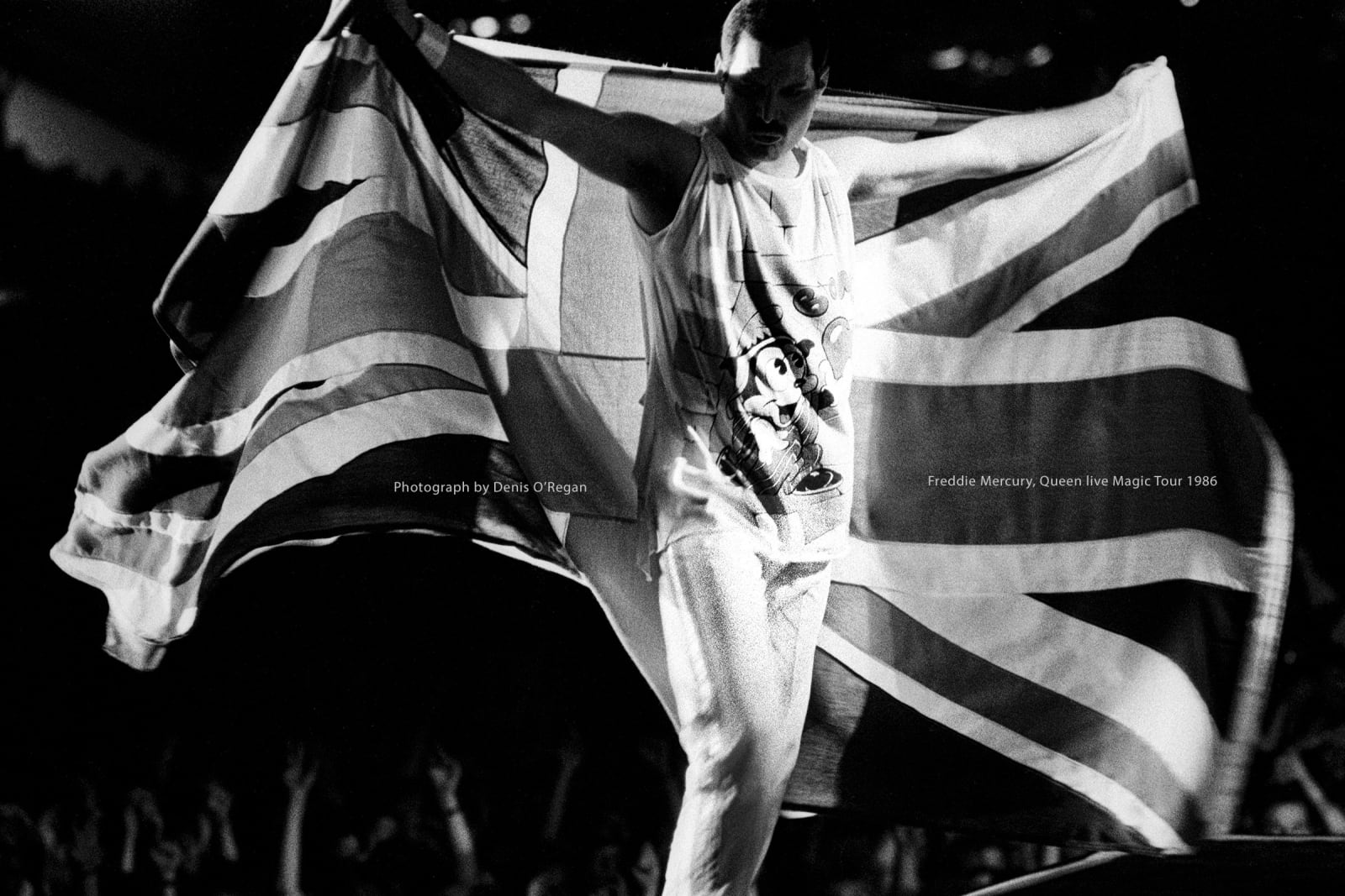 QUEEN, Freddie Mercury Live UK Flag, 1986