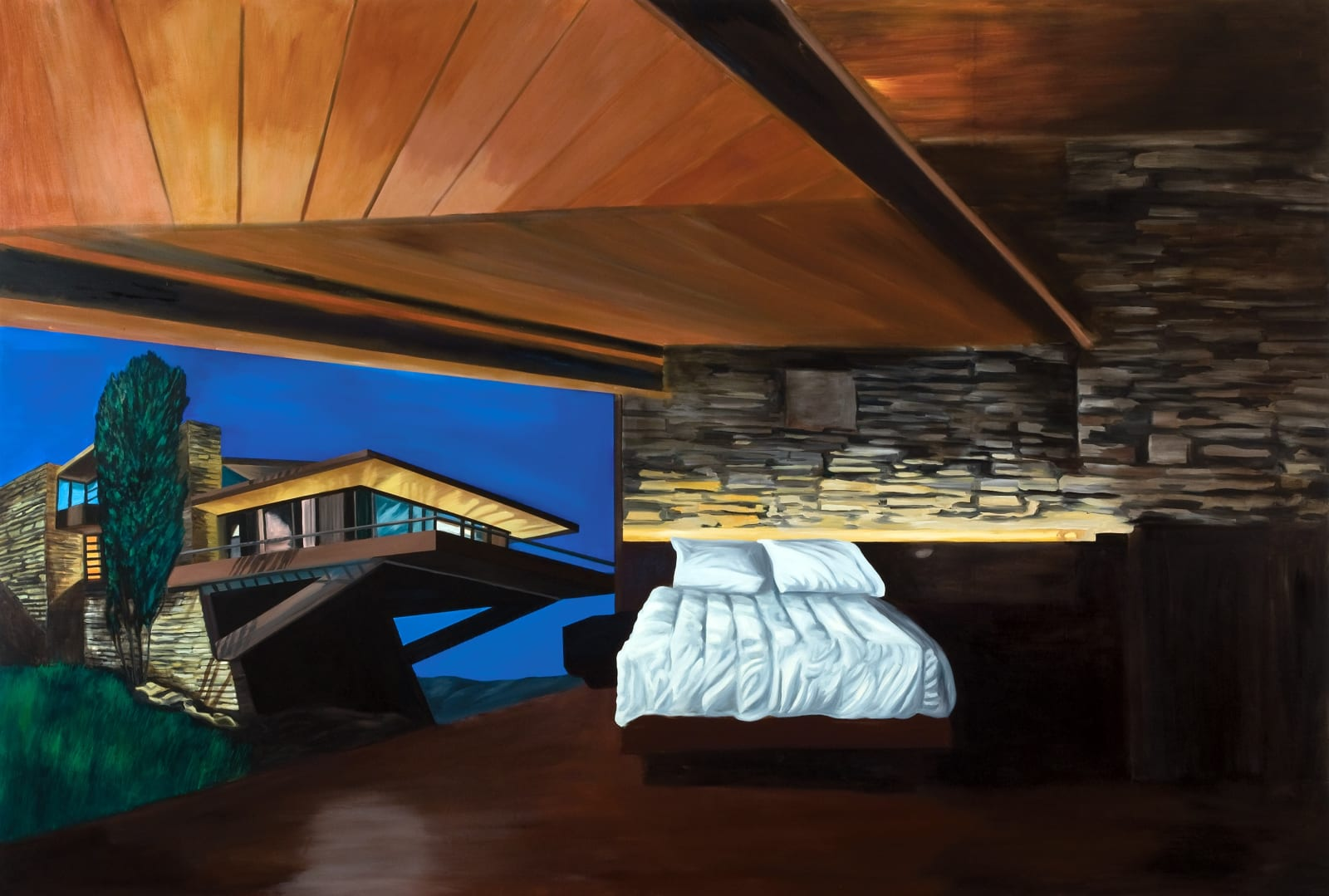 Lloyd Wright's Dream (painted whilst listening to Nevermind by Nirvana), oil on canvas, 256 x 378 cm, 2008