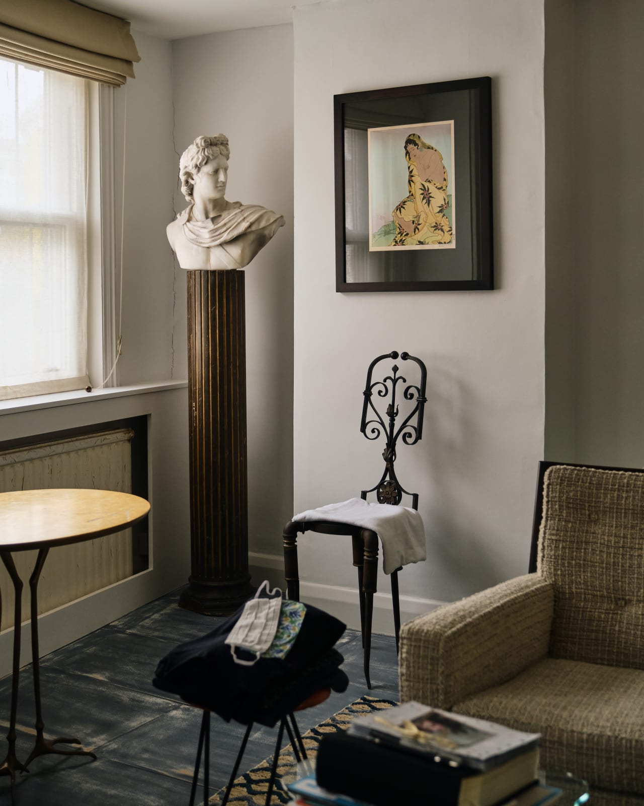 The Roman bust is another piece from Christine's antique dealer parents