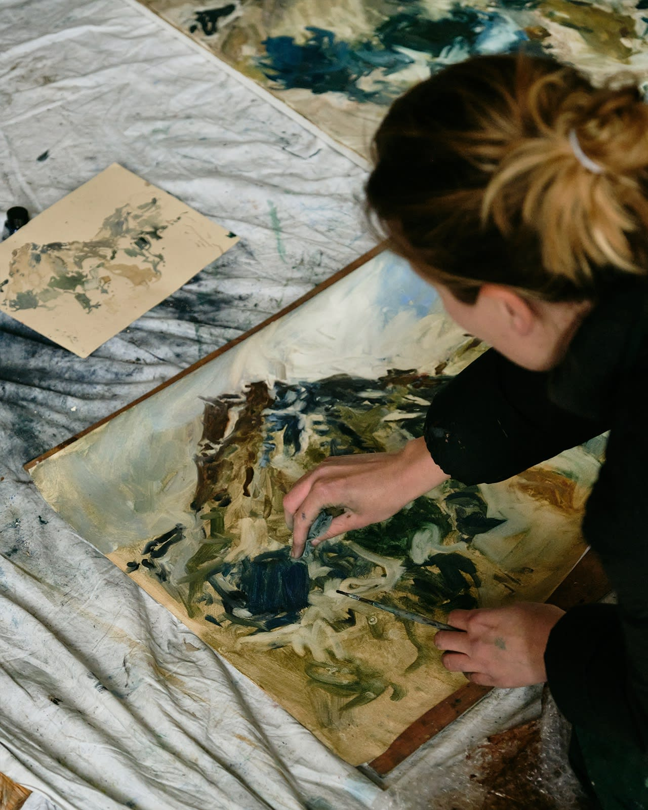 Painting mostly from memory helps bring an intensity to her works and a strong sense of energy, she says.