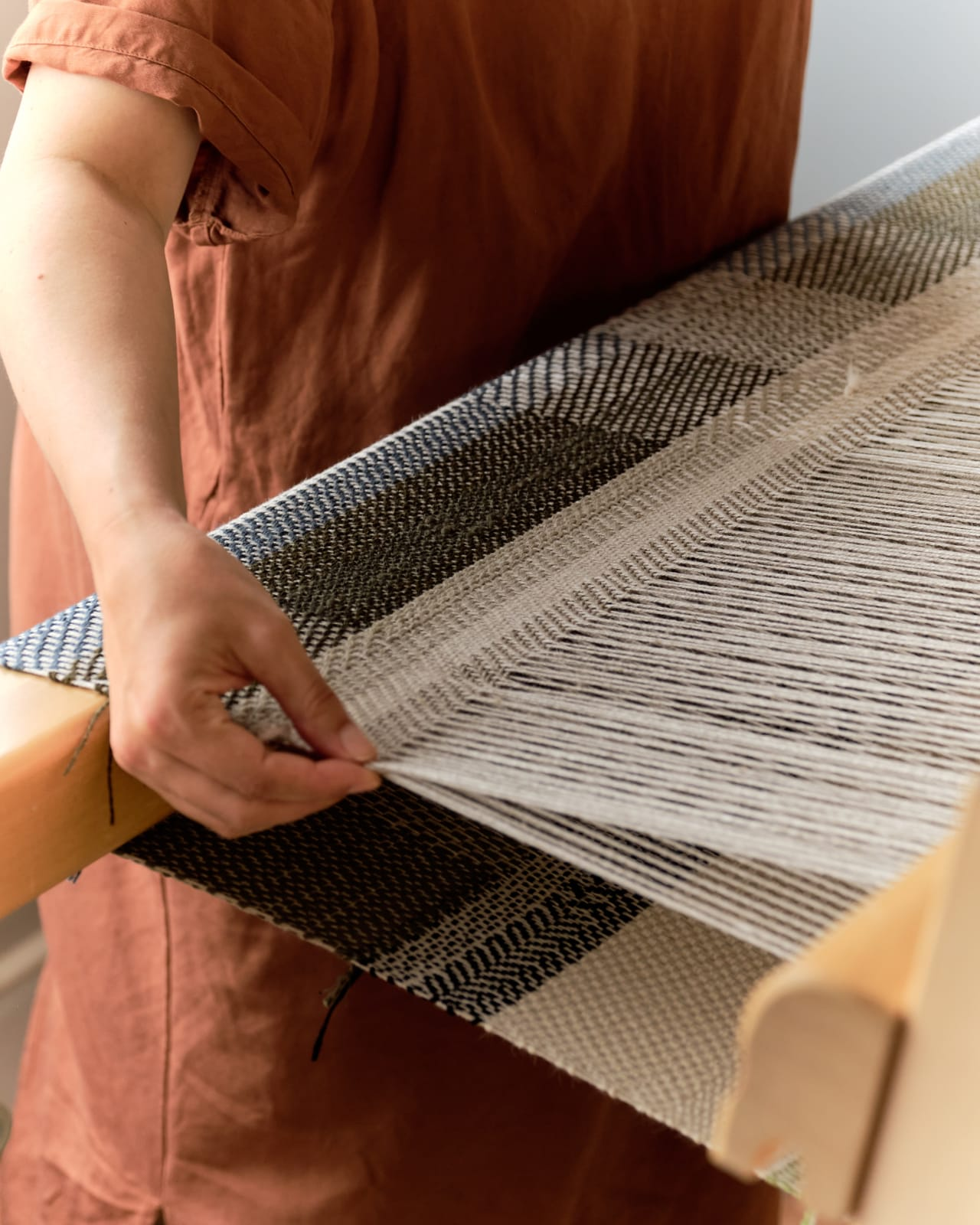 Each piece is created with the warp – the static structure that is the foundation – and the weft, the thread that is put through it adding interest.