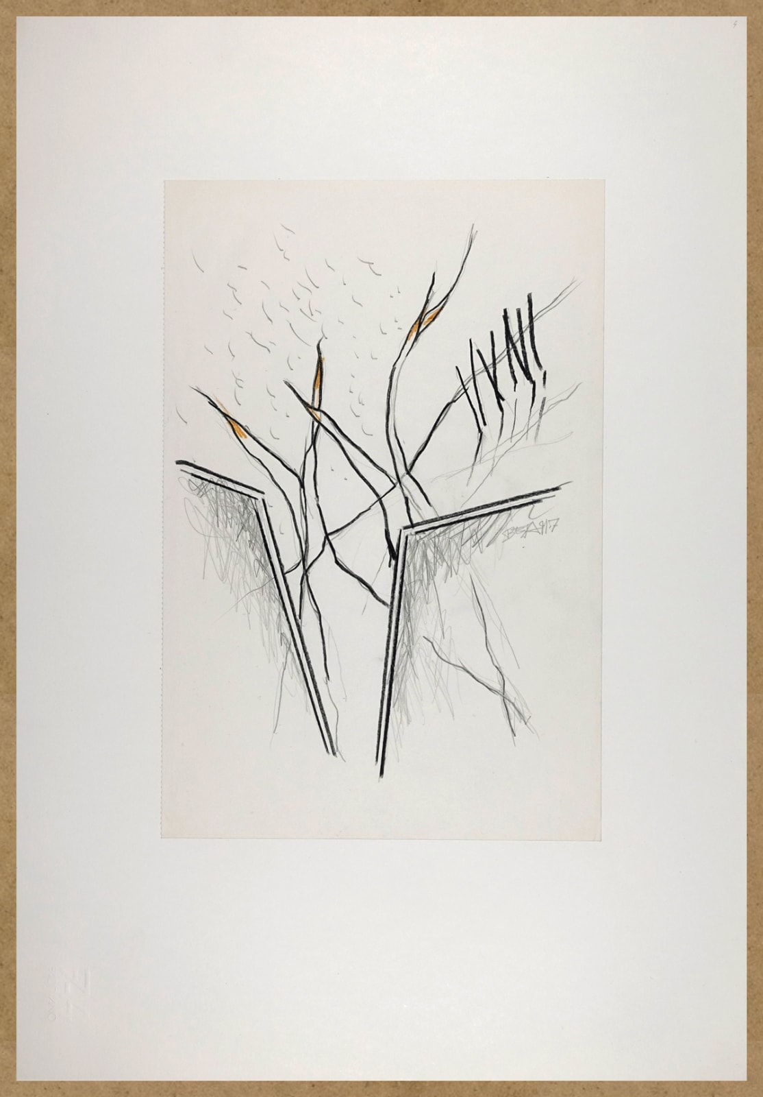 Bert Theis, Pays sage 4, 1991, Drawing, crayon on paper, 48 x 33 cm Courtesy: BertTheis Archive & Erna Hecey Gallery
