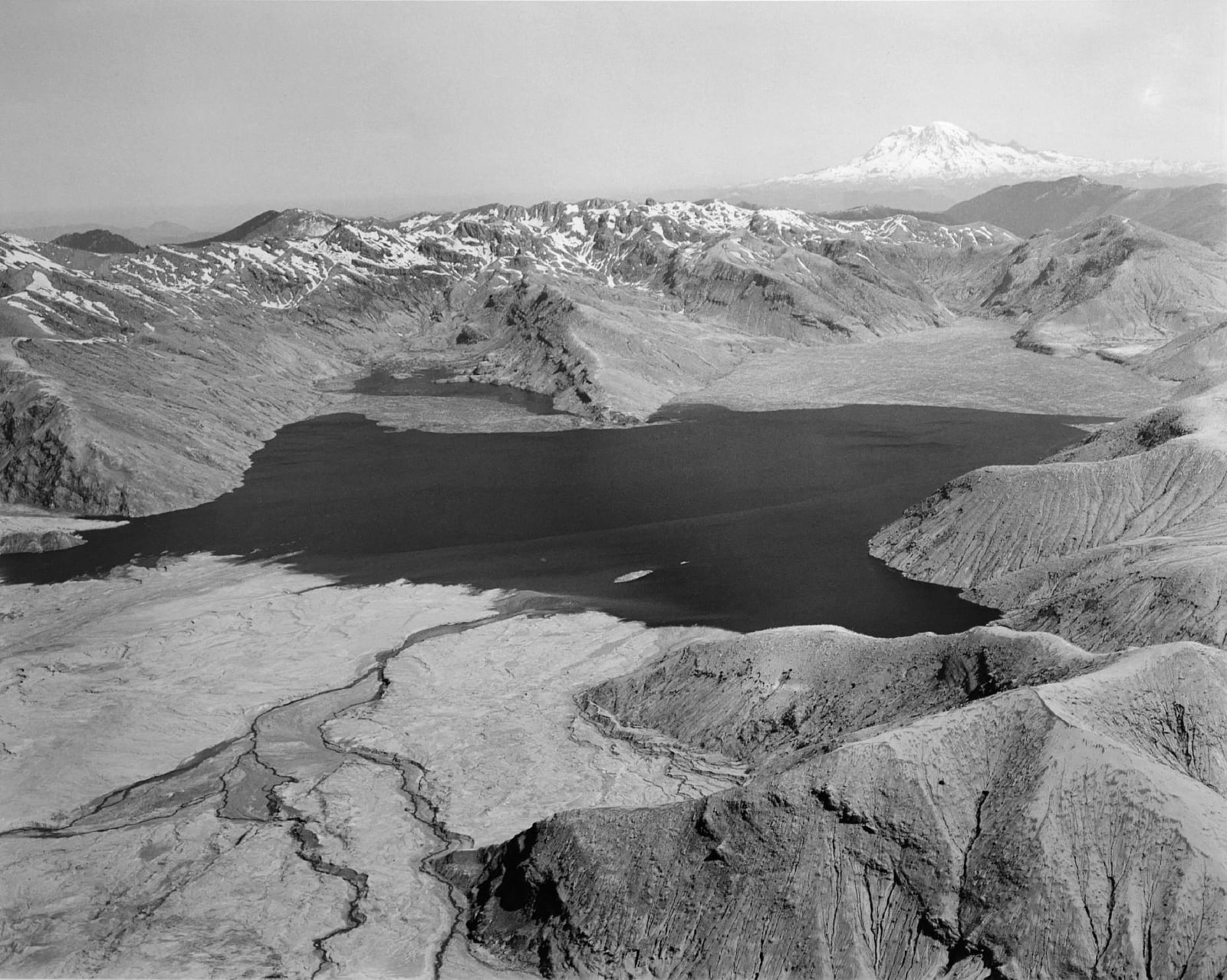 Frank Gohlke - Aerial view: Spirit Lake from the South, Mt. Rainier on horizon, 50 miles away (North end of lake filled with logs from eruption), 1982