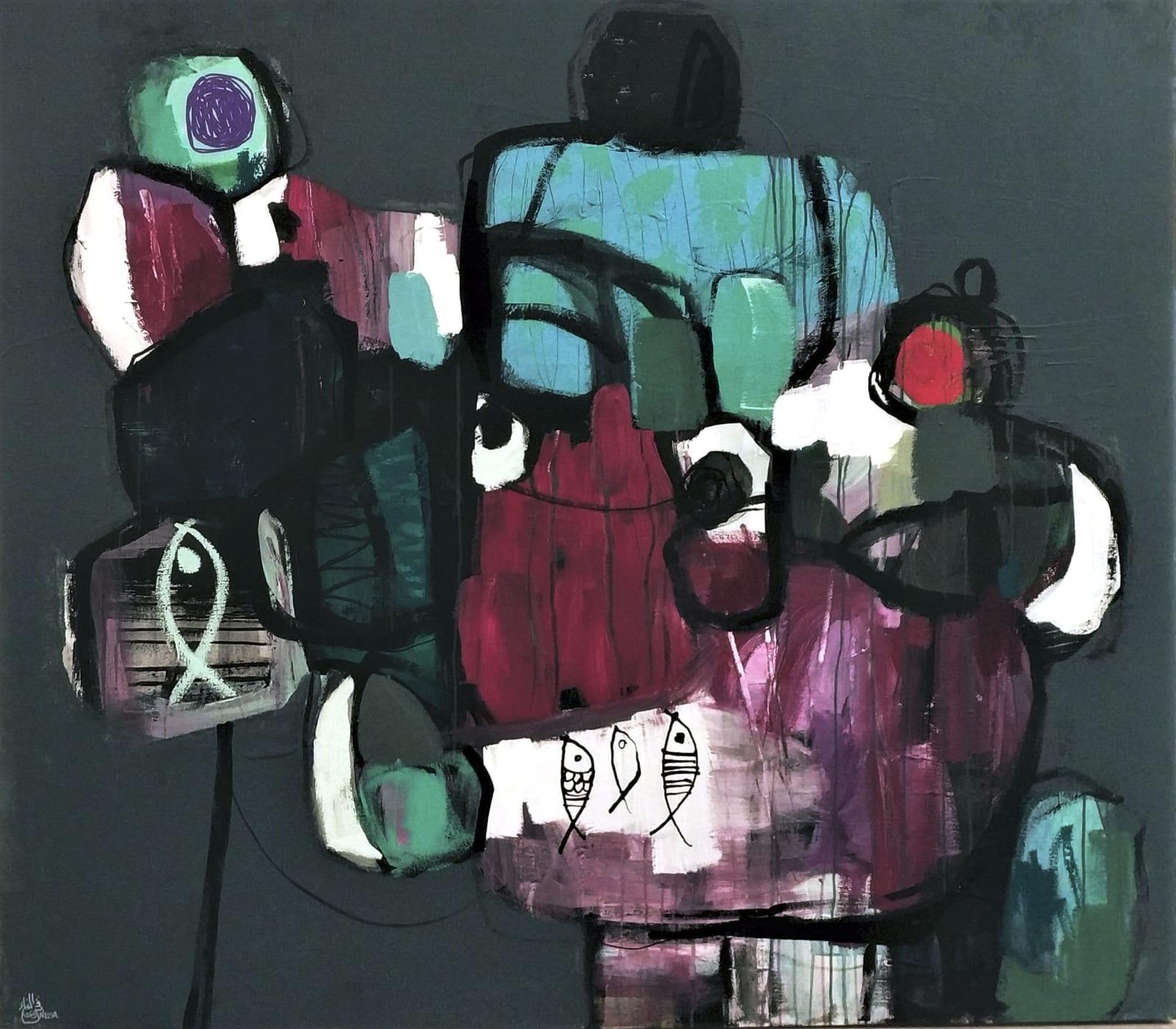 Nissa Raad, Kingdom of You I, 2020, Mixed media on canvas, 140x160cm