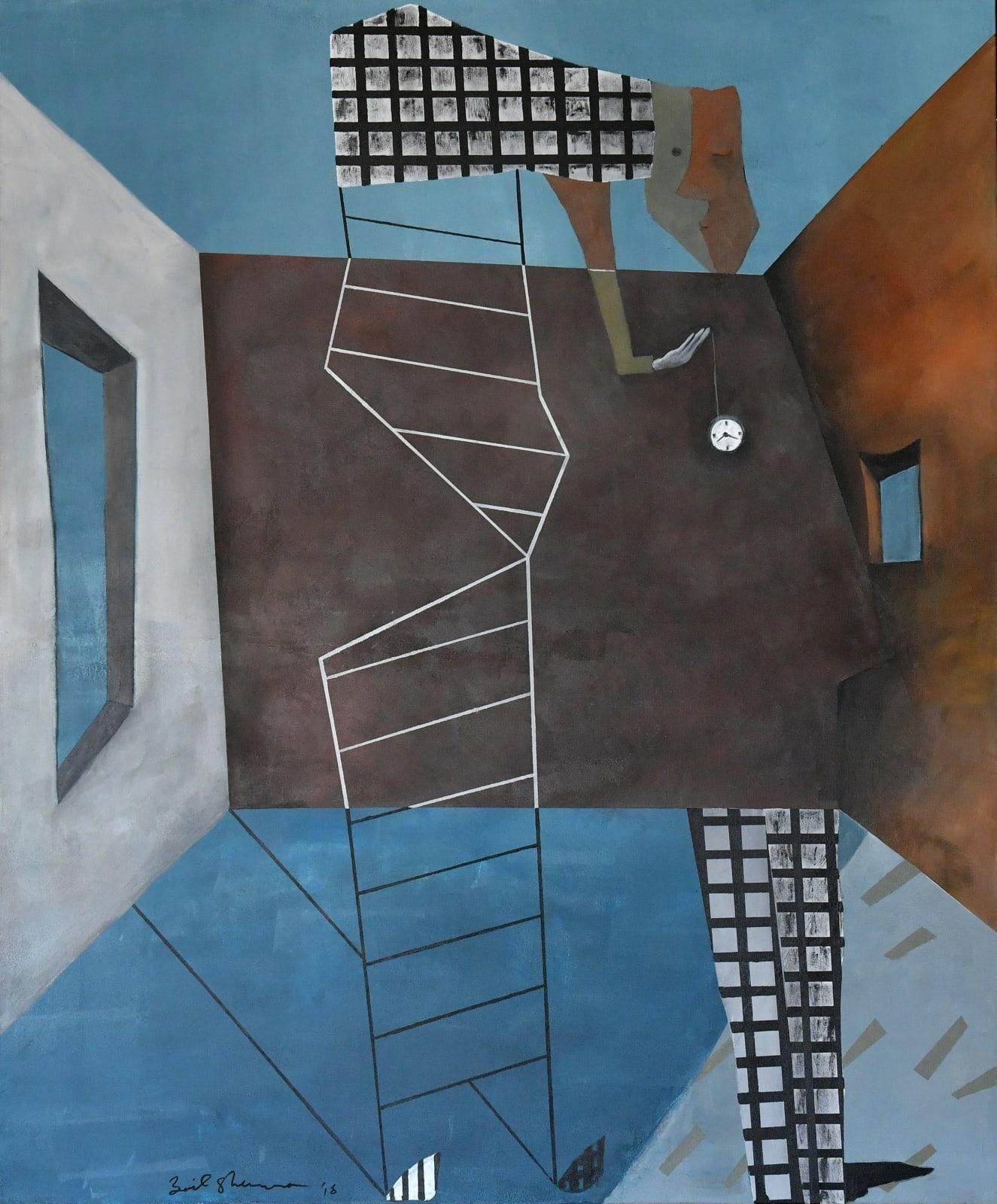 Zaid Shawwa, Time to go home, 2018, Acrylic on canvas, 120x100cm