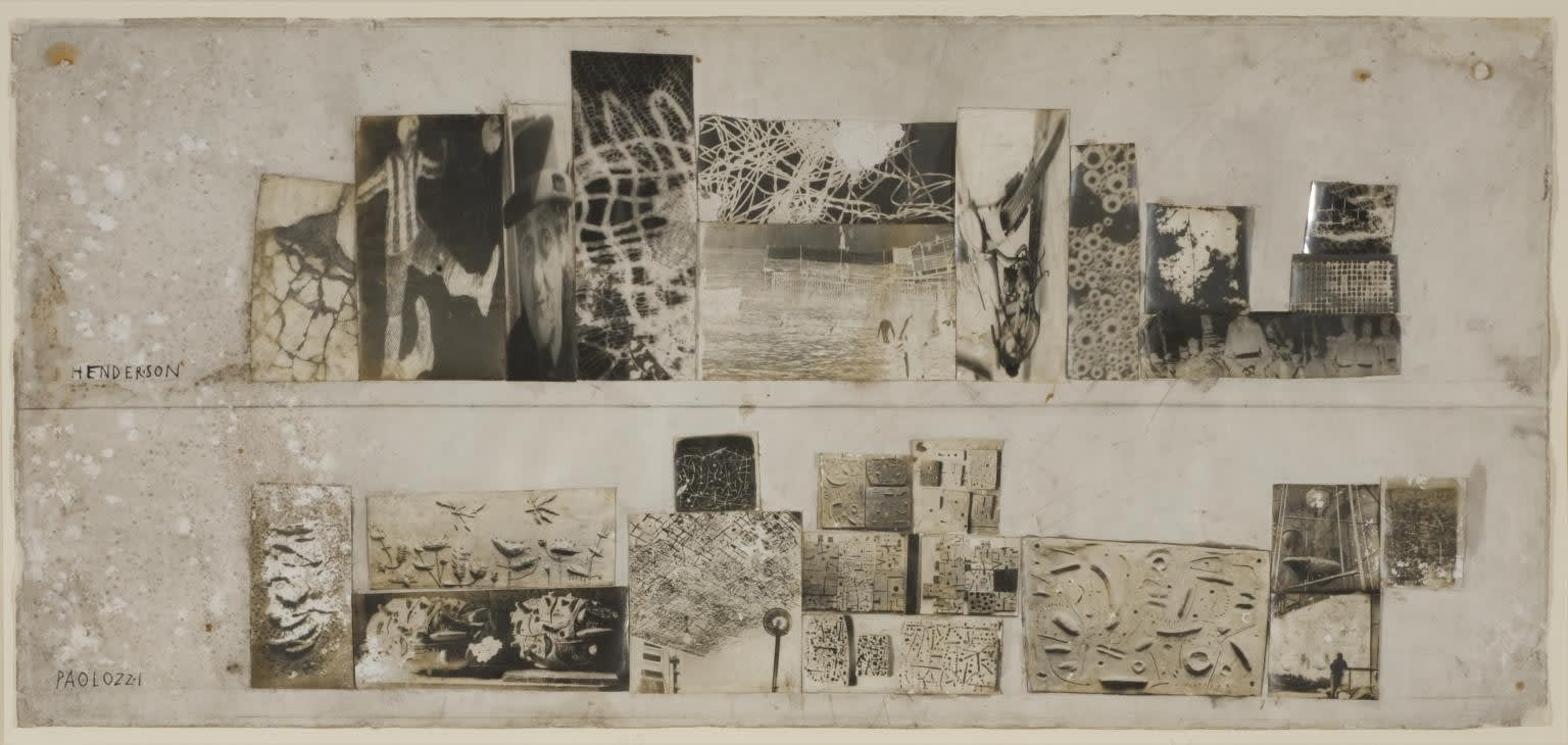 'Untitled (Study for Parallel of Life and Art)', by Nigel Henderson and Eduardo Paolozzi, 1952, includes imagery of similar relief works by Paolozzi from this time. Tate Archive