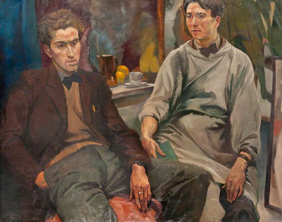 Ian Fleming RSA RSW 'The Two Roberts - Colquhoun and MacBryde', 1937-38, oil on canvas in the collection of The Glasgow School of Art, purchased from the artist, 1966