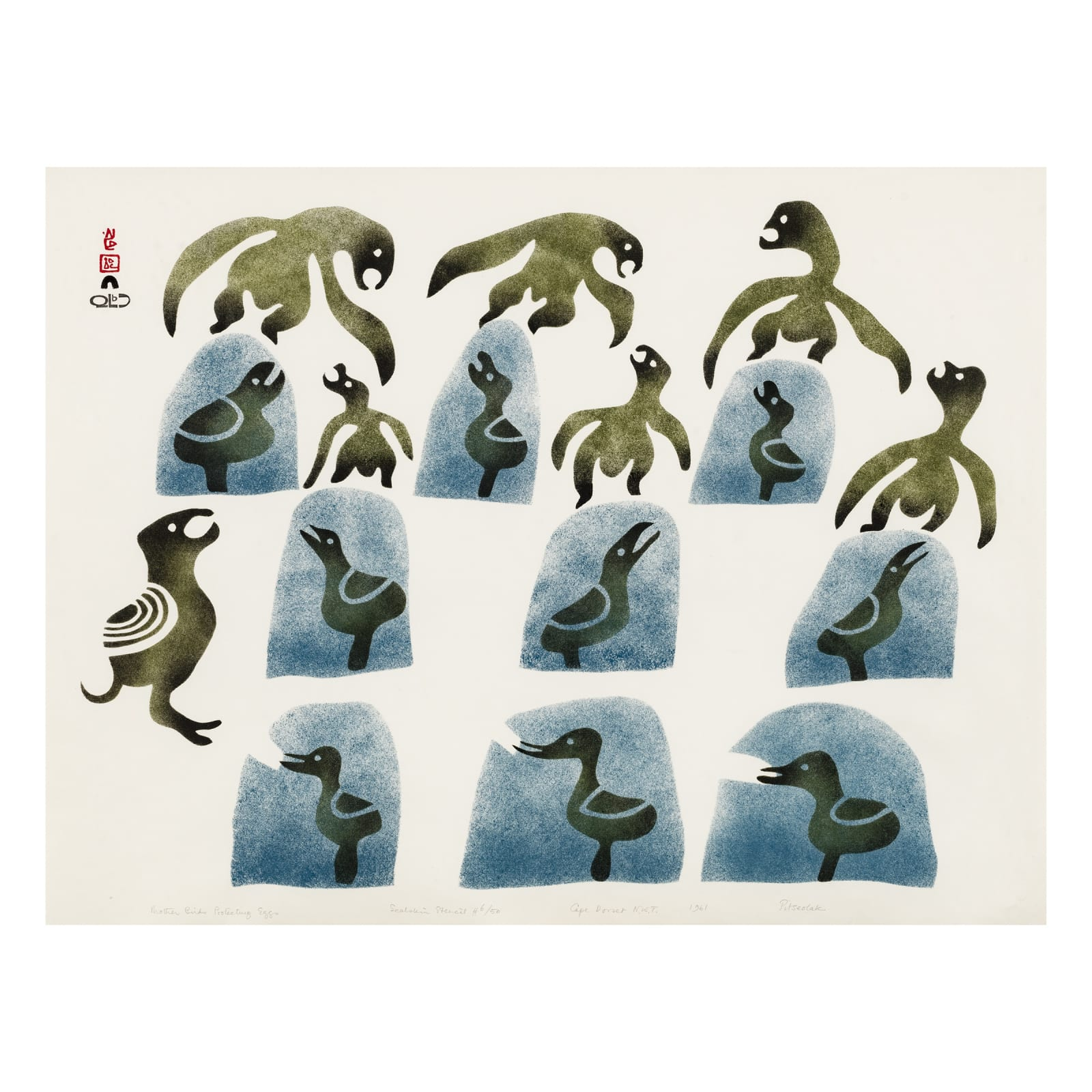 PITSEOLAK ASHOONA, O.C., R.C.A (1904-1983) KINNGAIT (CAPE DORSET) Mother Birds Protecting Eggs, 1961 REALIZED: $2,040