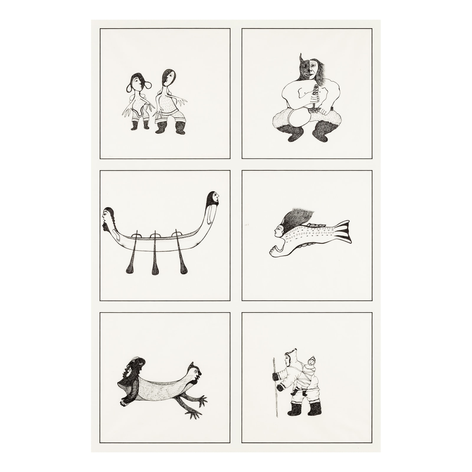 PITALOOSIE SAILA, R.C.A. (1942-) KINNGAIT (CAPE DORSET) Six Drawings, 2012 REALIZED: $2,280