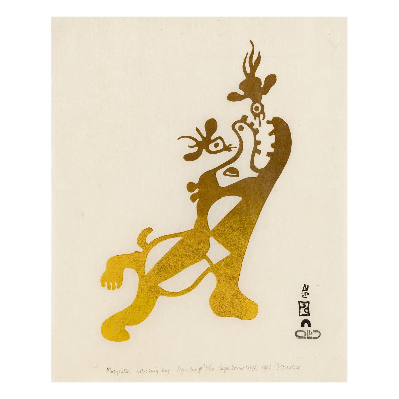 PITSEOLAK ASHOONA, O.C., R.C.A (1904-1983) KINNGAIT (CAPE DORSET) Mosquitos Attacking Dog, 1961 REALIZED: $1,800