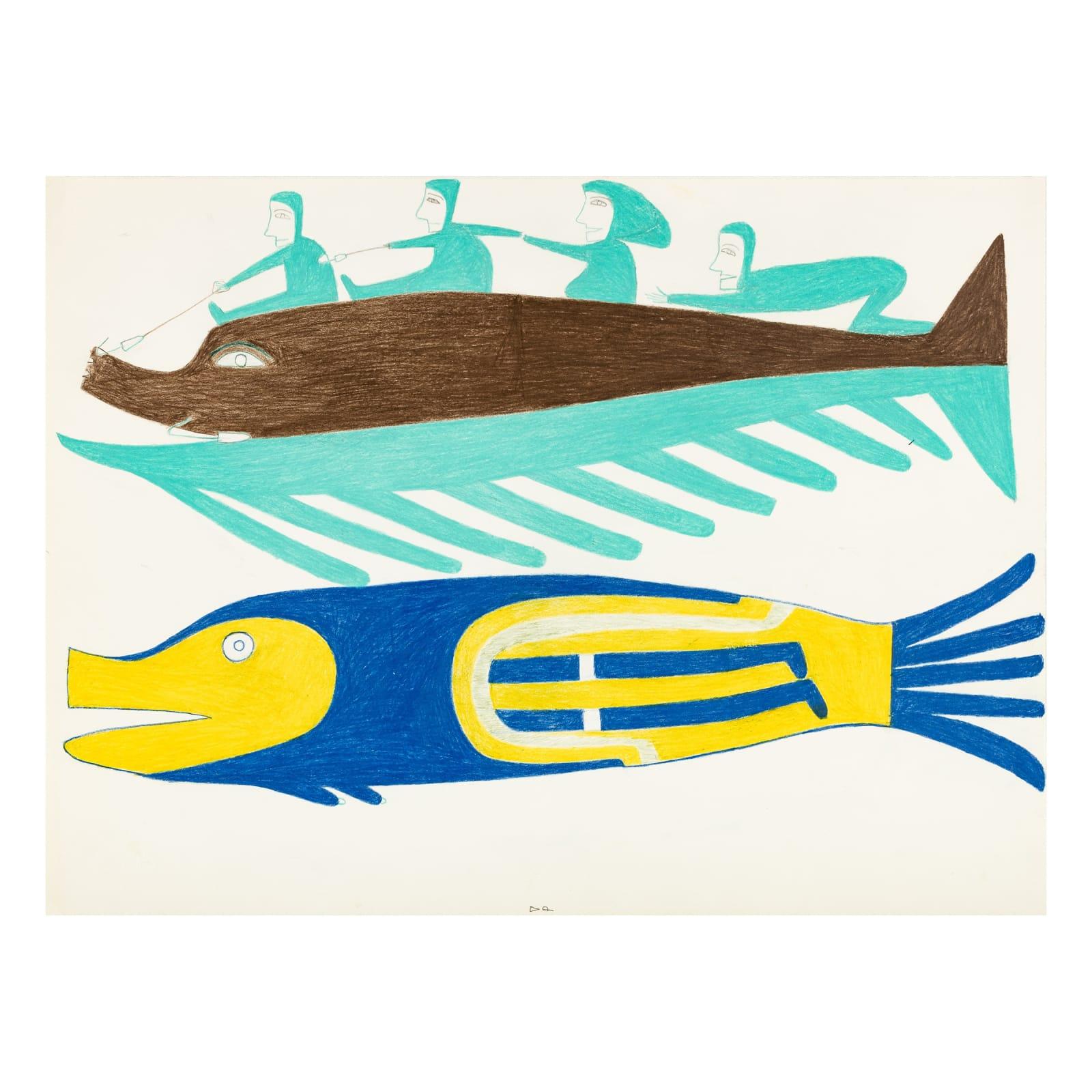 JESSIE OONARK, O.C., R.C.A (1906-1985) QAMANI'TUAQ (BAKER LAKE) Untitled (Fish Riders and Fish-Woman), c. 1978 REALIZED: $7,800
