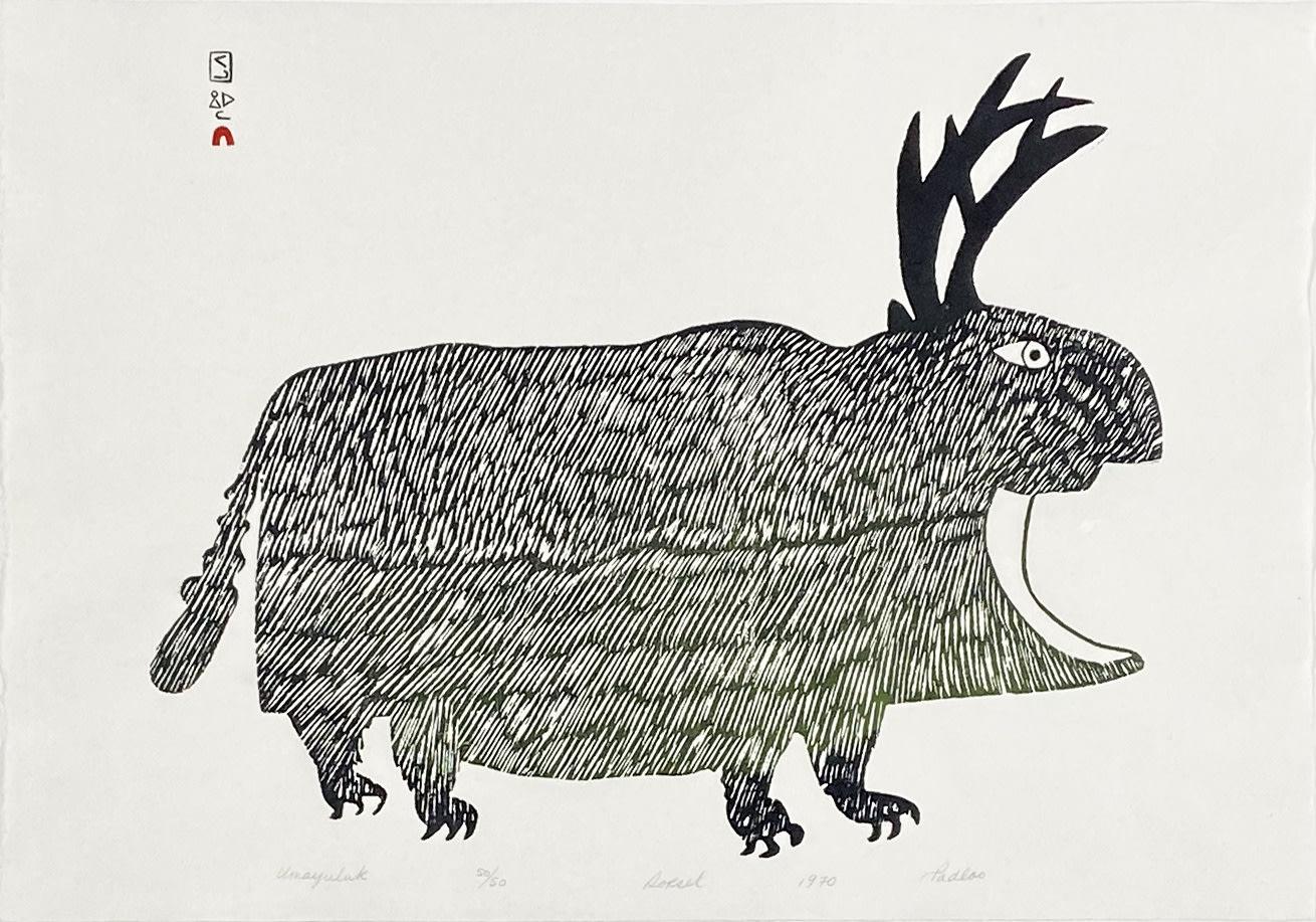 LOT 59 PUDLO PUDLAT (1916-1992) KINNGAIT (CAPE DORSET) Umayuluk (Big Animal or Big Living Creature), 1970 stonecut, 17 x 24 in (43.2 x 61 cm) ESTIMATE: $400 — $600 PRICE REALIZED: $606