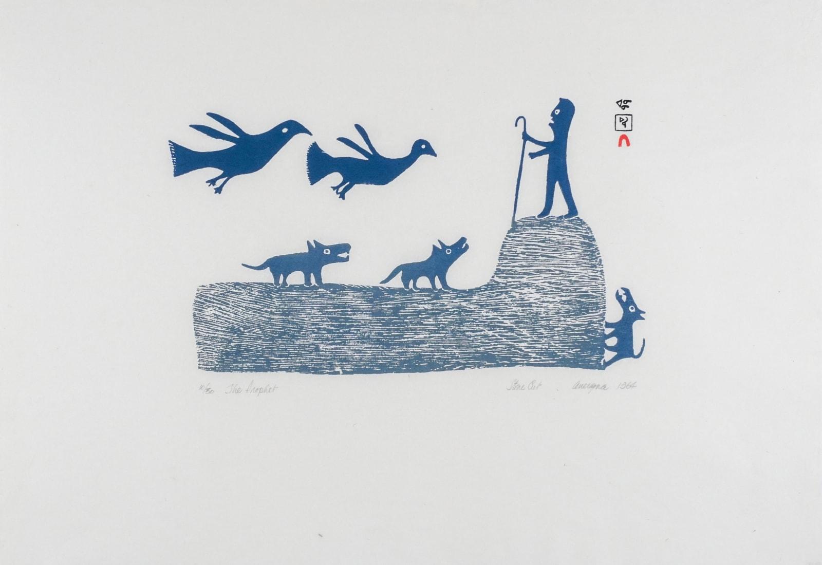 LOT 34 ANIRNIK OSHUITOQ (1902-1983) KINNGAIT (CAPE DORSET) The Prophet, 1963 (1994) stonecut, 17 x 24 1/2 in (43.2 x 62.2 cm) ESTIMATE: $500 —$700 PRICE REALIZED: $570