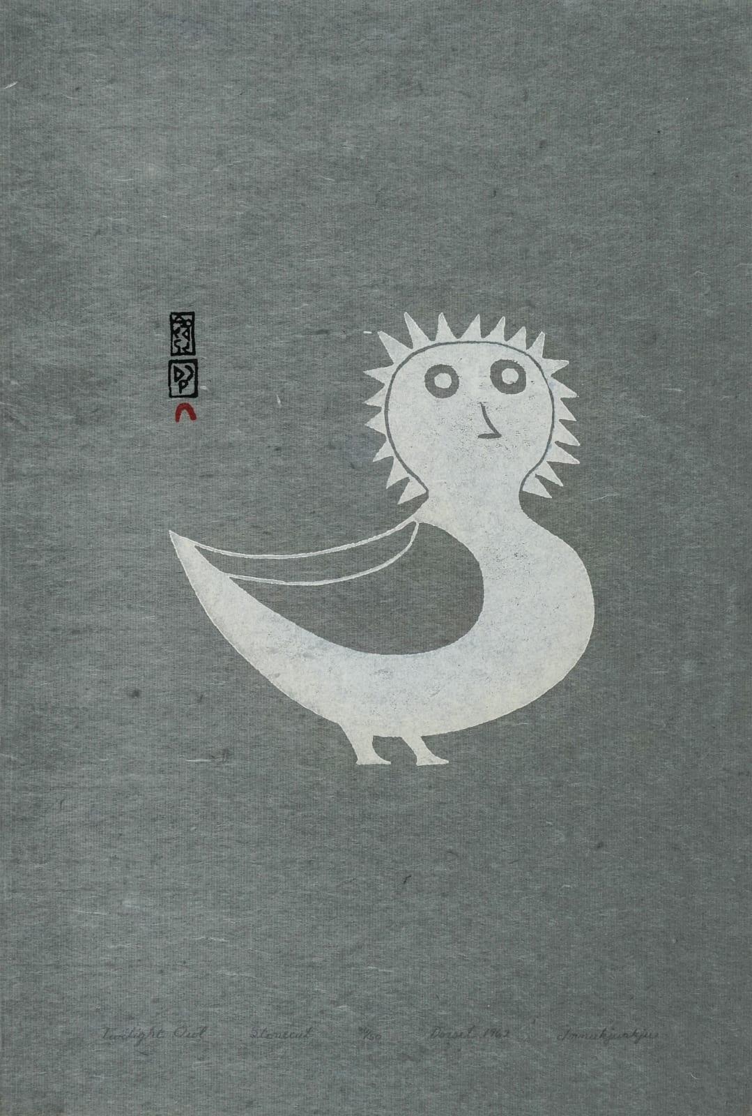 LOT 12 INNUKJUAKJU PUDLAT (1913-1972) KINNGAIT (CAPE DORSET) Twilight Owl, 1962 (1999) stonecut on grey paper, 18 1/2 x 12 1/2 in (47 x 31.8 cm) ESTIMATE: $ 1,000— $1,500
