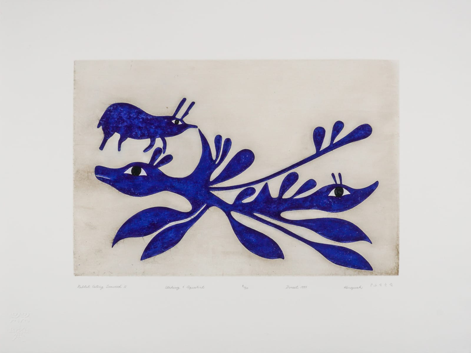 LOT 10 KENOJUAK ASHEVAK, C.C., R.C.A. (1927-2013) KINNGAIT (CAPE DORSET) Rabbit Eating Seaweed II, 1999 etching and aquatint plate: 14 1/4 x 21 1/2 in (36.2 x 54.6 cm) sheet: 24 x 31 1/2 in (61 x 80 cm) ESTIMATE: $3,000 — $5,000 Price Realized: $3,080