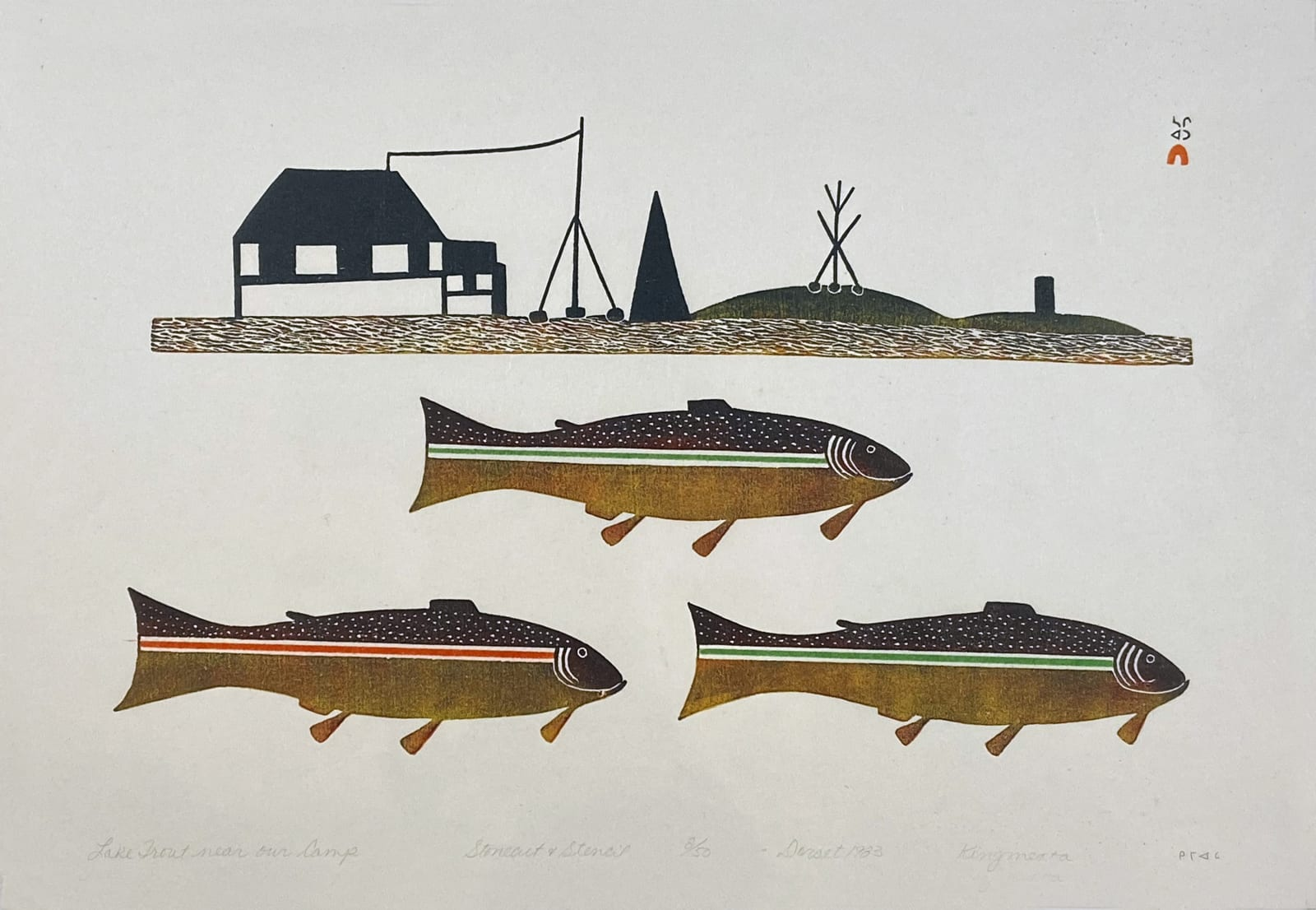 LOT 72 KINGMEATA ETIDLOOIE (1915-1989) KINNGAIT (CAPE DORSET) Lake Trout Near Our Camp, 1983 (2005) stonecut and stencil, 18 x 36 in (45.7 x 91.4 cm) ESTIMATE: $400 — $600 price realized: $360