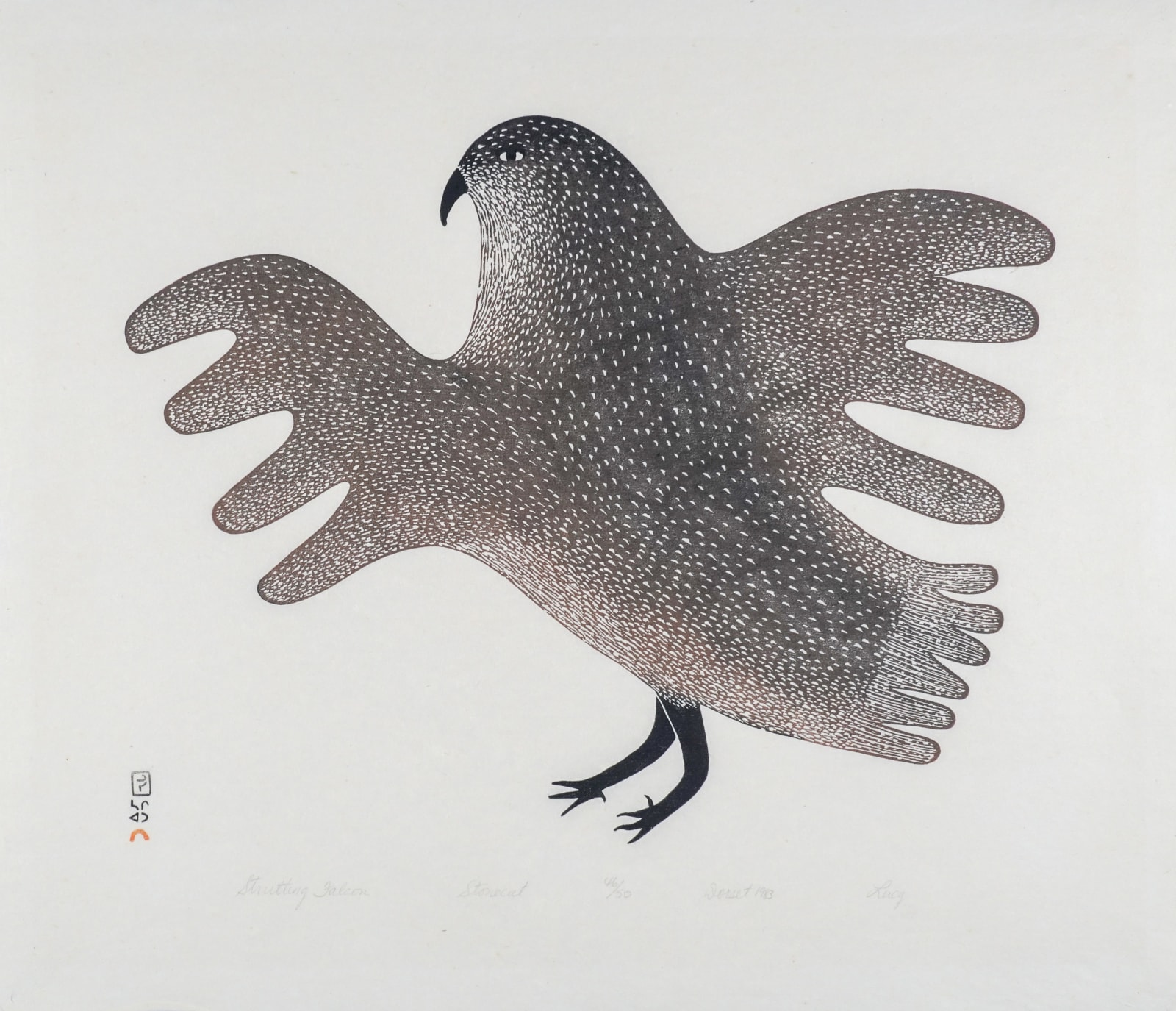 LOT 41 LUCY QINNUAYUAK (1915-1982) KINNGAIT (CAPE DORSET) Strutting Falcon, 1983 stonecut, 21 x 24 1/2 in (53.3 x 62.2 cm) ESTIMATE: $800 - $1,200