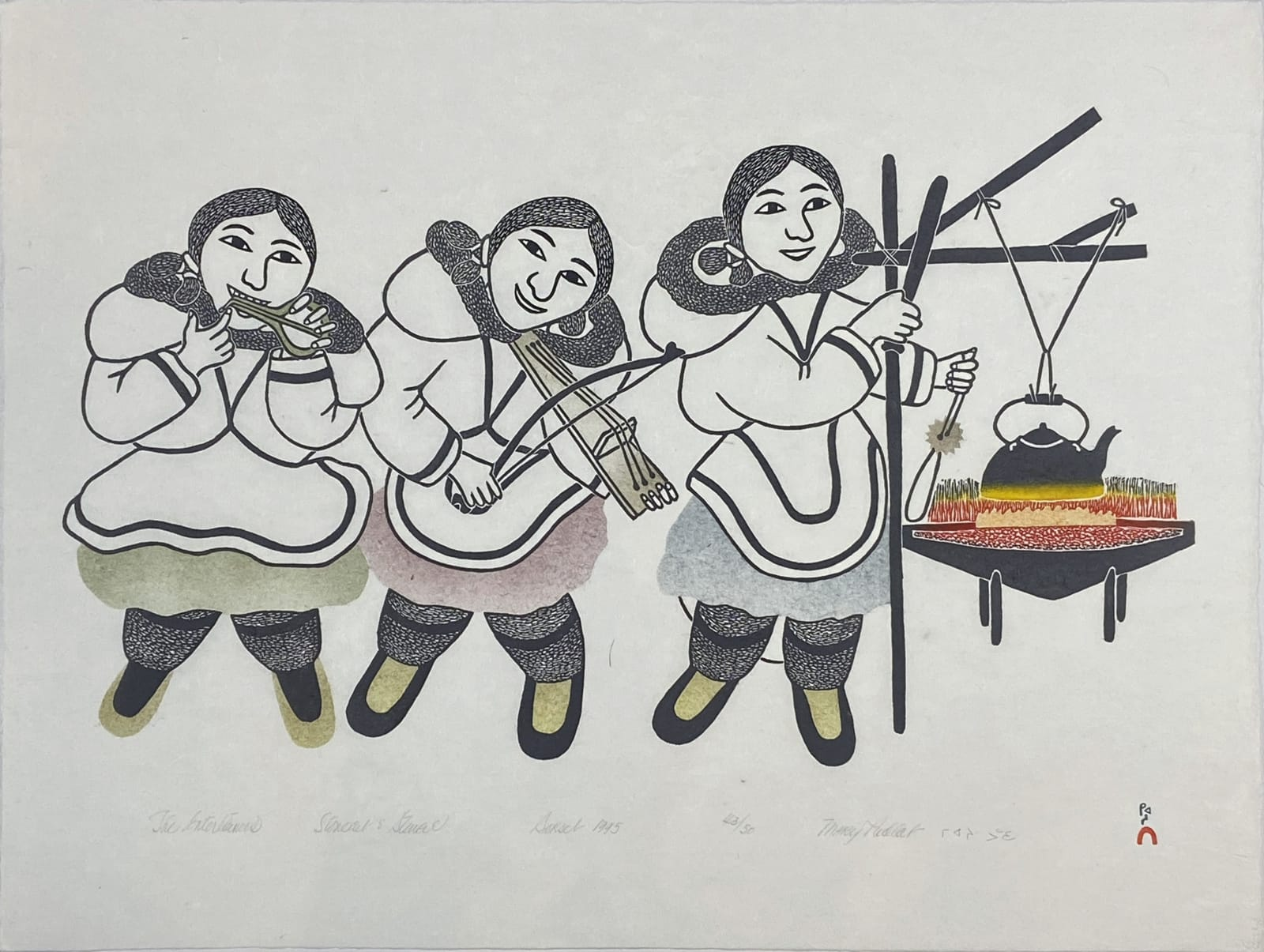 LOT 74 MARY PUDLAT (1923-2001) KINNGAIT (CAPE DORSET) The Entertainers, 1995 stonecut and stencil, 18 1/2 x 25 in (47 x 63.5 cm) ESTIMATE: $350 — $500 price realized: $336