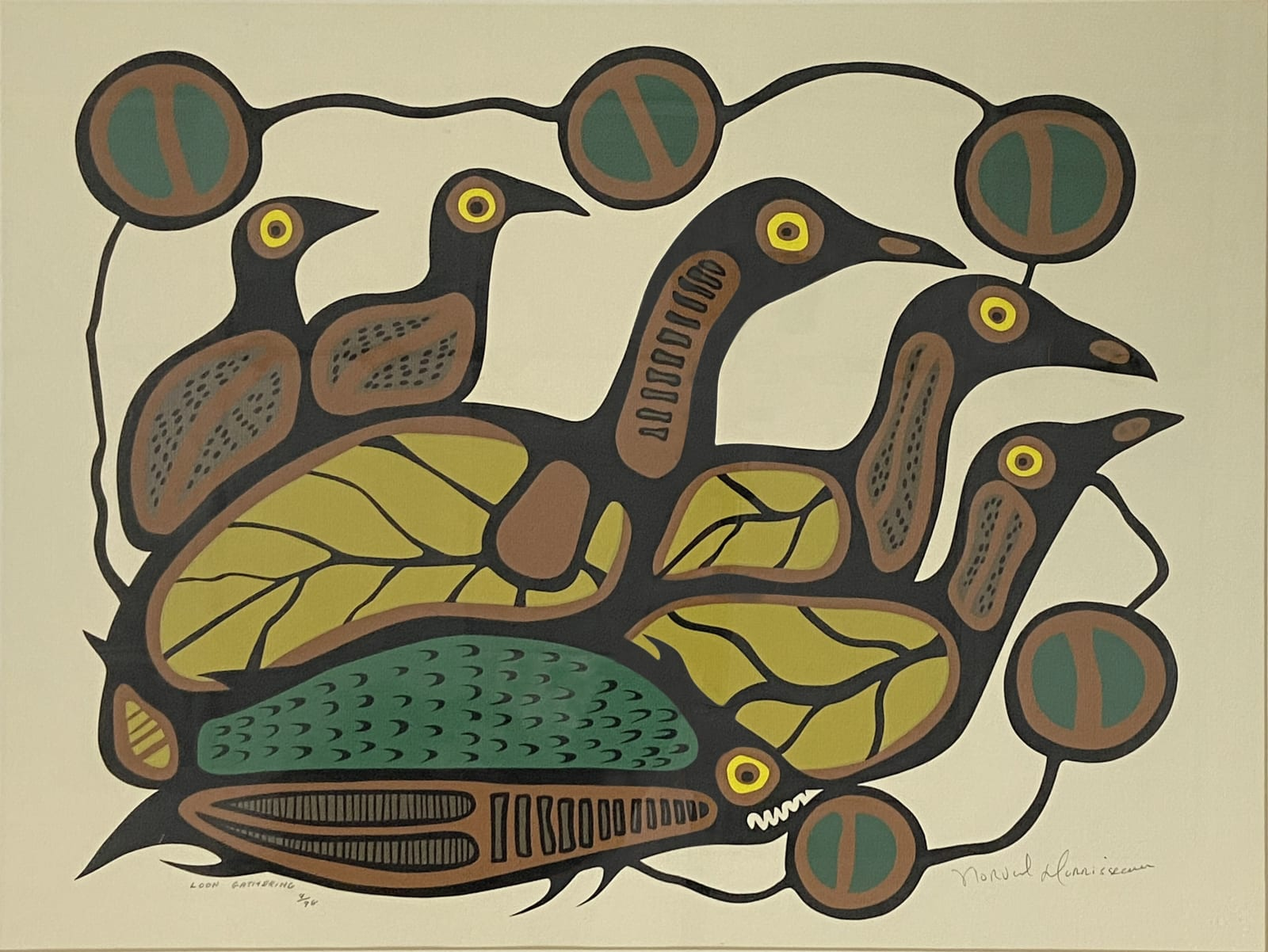 LOT 63 NORVAL MORRISSEAU, C.M. (1931-2007) ANISHINAABE Loon Gathering silkscreen, framed, sight: 19 1/4 x 25 3/4 in (48.9 x 65.4 cm) ESTIMATE: $400 — $600 PRICE REALIZED: $360