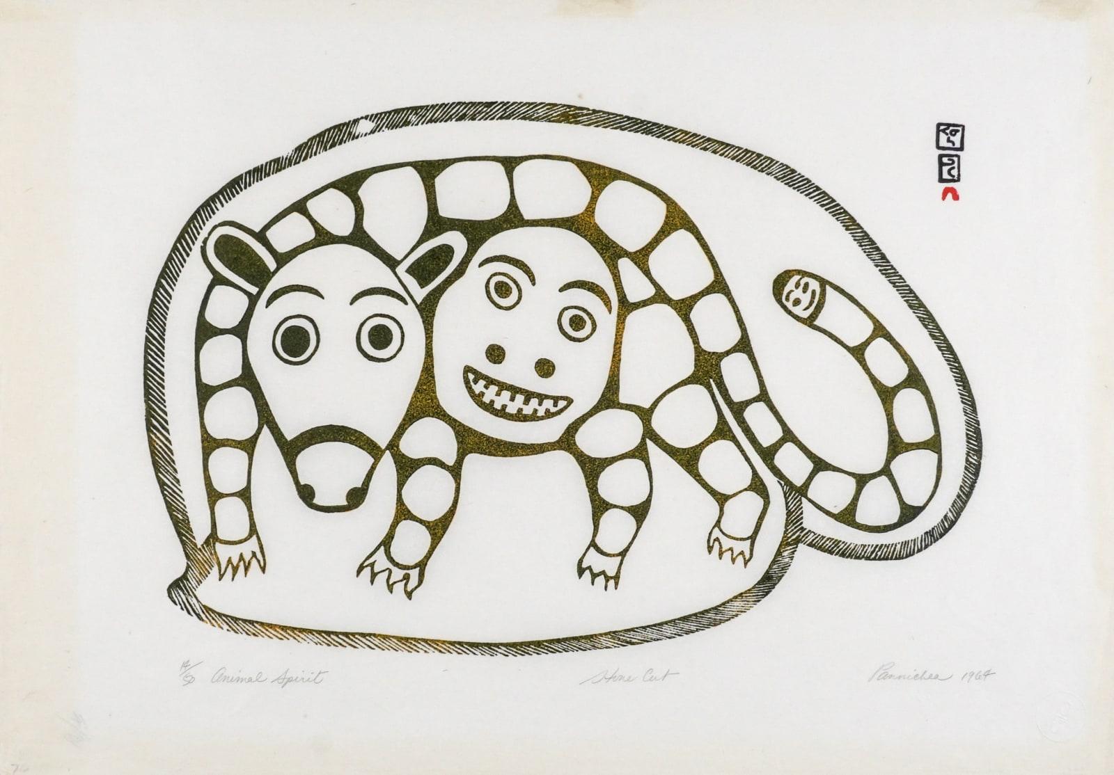 LOT 69 PAUNICHEA (PANNICHIAK MUNAMEE) (1920-1968) KINNGAIT CAPE DORSET Animal Spirit, 1964 stonecut, 15 x 24 in (38.1 x 61 cm) ESTIMATE: $300 — $500