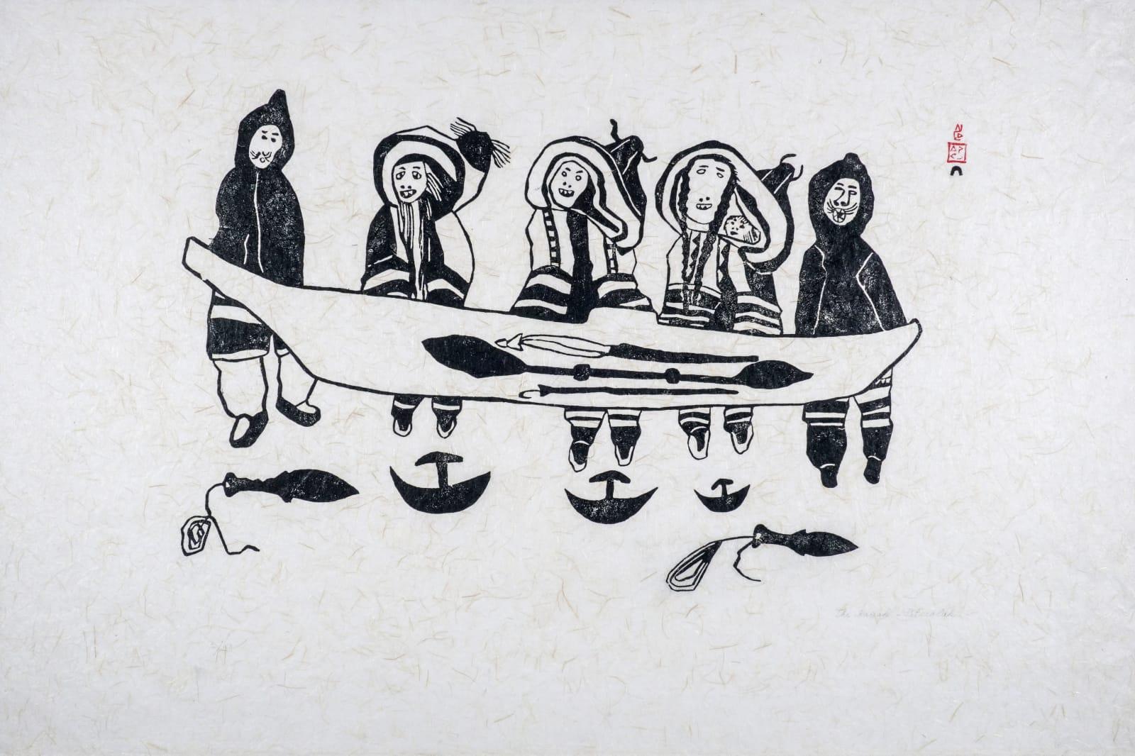 LOT 20 PITSEOLAK ASHOONA, R.C.A., O.C., (1904-1983) KINNGAIT (CAPE DORSET) The Kayak (Kayak and Family), 1962 stonecut, 24 x 28 in (61 x 71.1 cm) ESTIMATE: $800 — $1,200