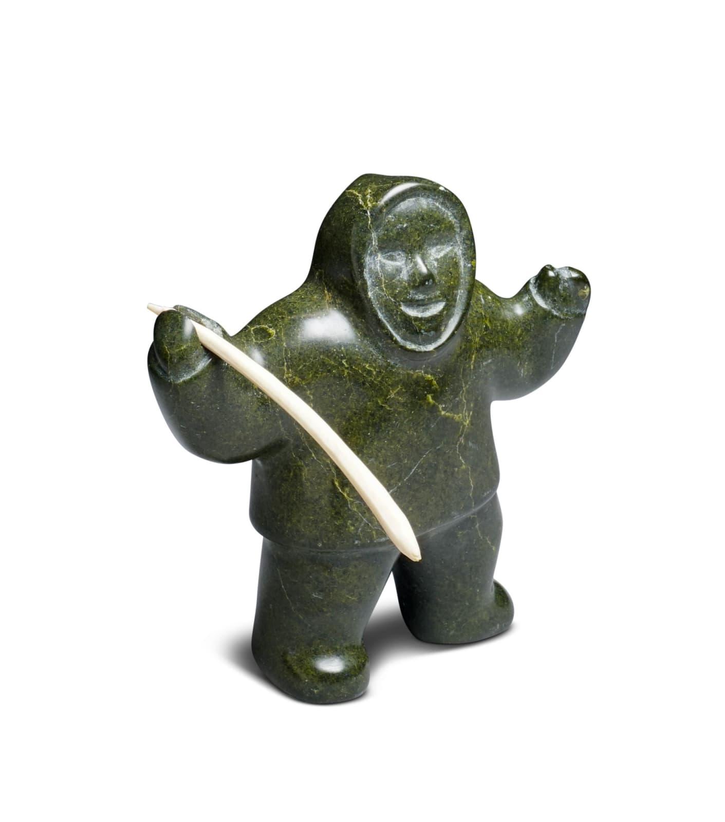 LOT 50 TAQIALUK QAYAQ (1923-D) KANGIQTUGAAPIK (CLYDE RIVER) Happy Hunter, late 1960s stone and antler, 4 3/4 x 4 x 2 in (12.1 x 10.2 x 5.1 cm) ESTIMATE: $300 — $400
