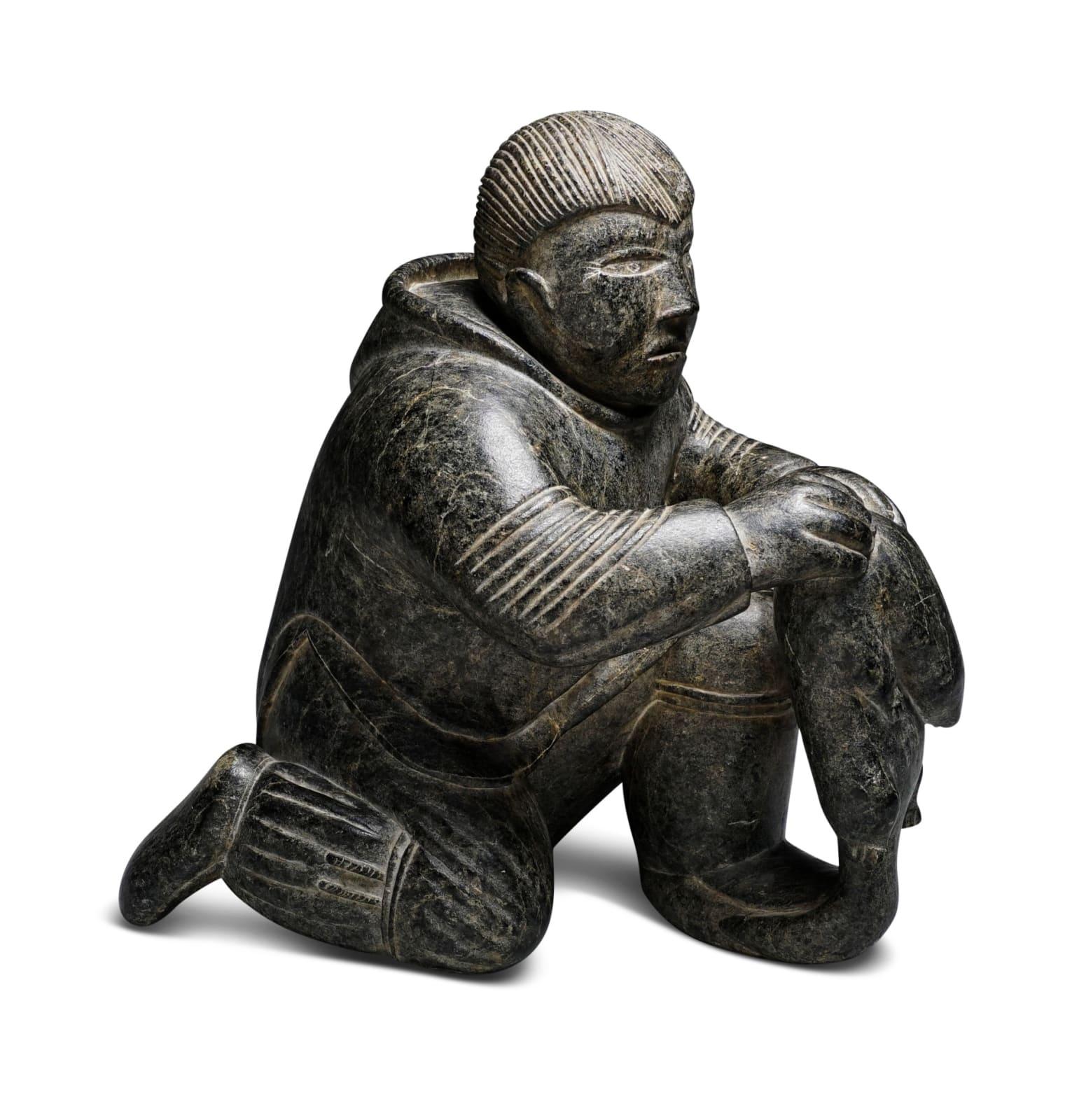 LOT 5 TIMOTHY QUANANAAPIK (1938-1984) PUVIRNITUQ (POVUNGNITUK) Hunter with Lemming, 1957 stone, 9 x 8 1/2 x 5 in (22.9 x 21.6 x 12.7 cm) ESTIMATE: $3,500 — $5,000
