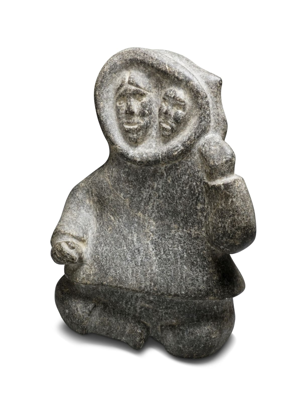 LOT 8 UNIDENTIFIED ARTIST, KINNGAIT (CAPE DORSET) Mother With Child in Her Amaut, early-mid 1950s stone, 11 x 8 x 5 in (27.9 x 20.3 x 12.7 cm) ESTIMATE: $1,000 — $1,500