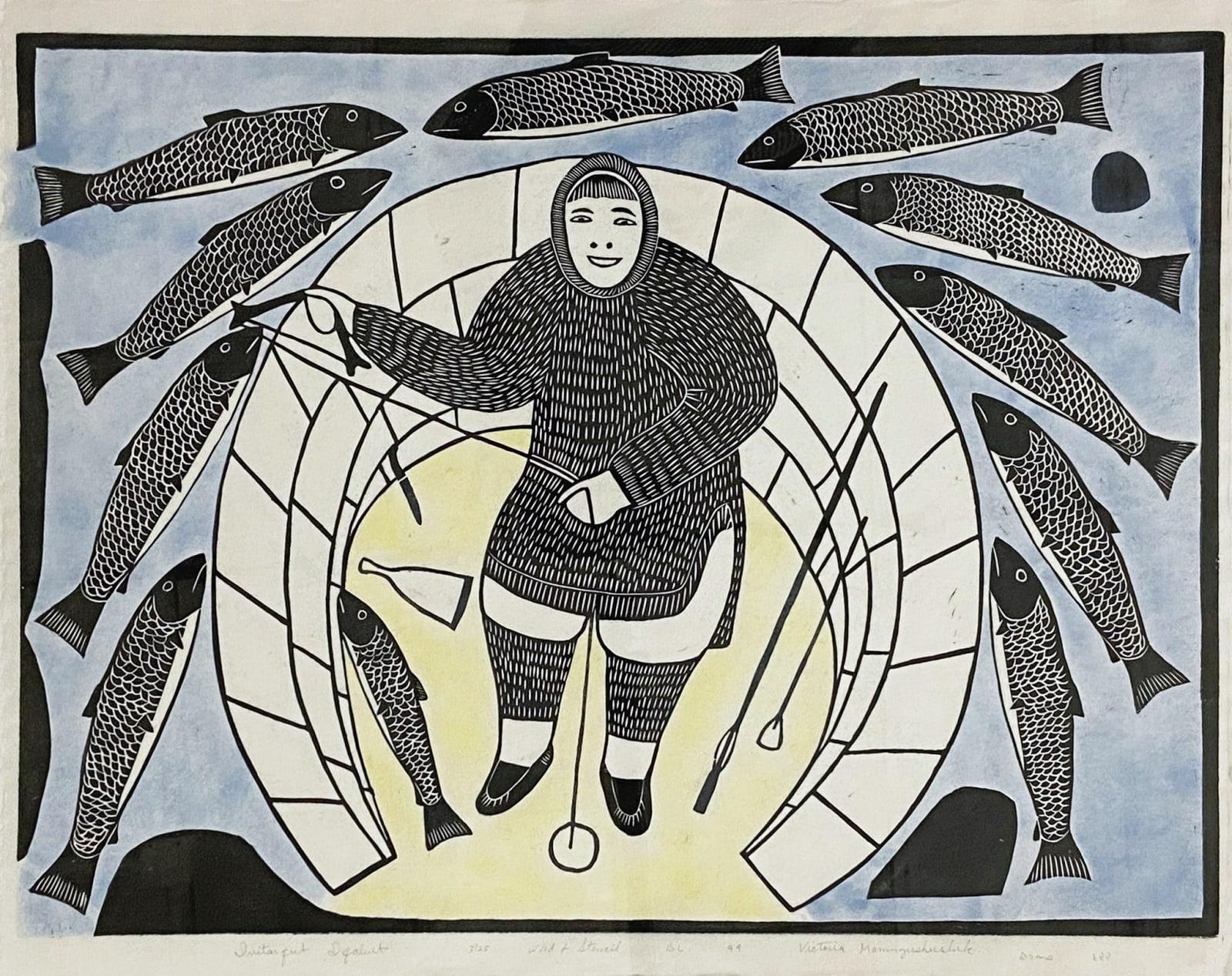 LOT 64 VICTORIA MAMNGUQSUALUK (1930-2016) QAMANI'TUAQ (BAKER LAKE) Ivitarqut Iqaluit, 1999 woodcut and stencil, 17 3/4 x 24 in (45.1 x 61 cm) ESTIMATE: $400 — $600