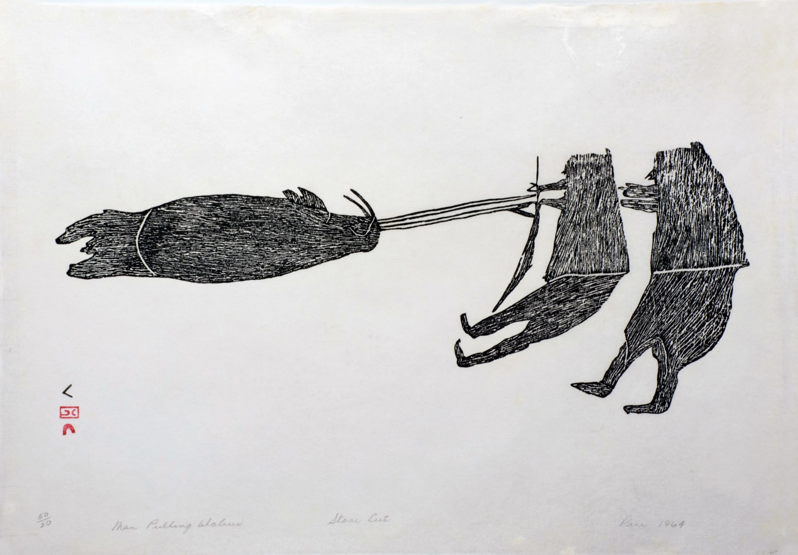 PARR (1893-1969) KINNGAIT (CAPE DORSET) Men Pulling a Walrus / Man Pulling a Walrus, 1964 (1964/5 #60) stonecut, 17.125 x 24.5 in (43.2 x 62.2 cm) $3,800