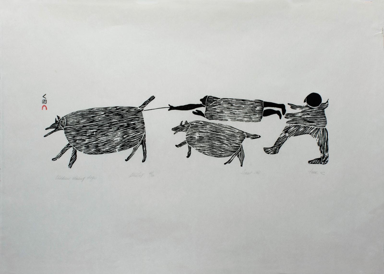 PARR (1893-1969) KINNGAIT (CAPE DORSET) Children Chasing Dogs, 1965 (1966 #3) stonecut, 24 x 34 in (61 x 86.4 cm) $3,500