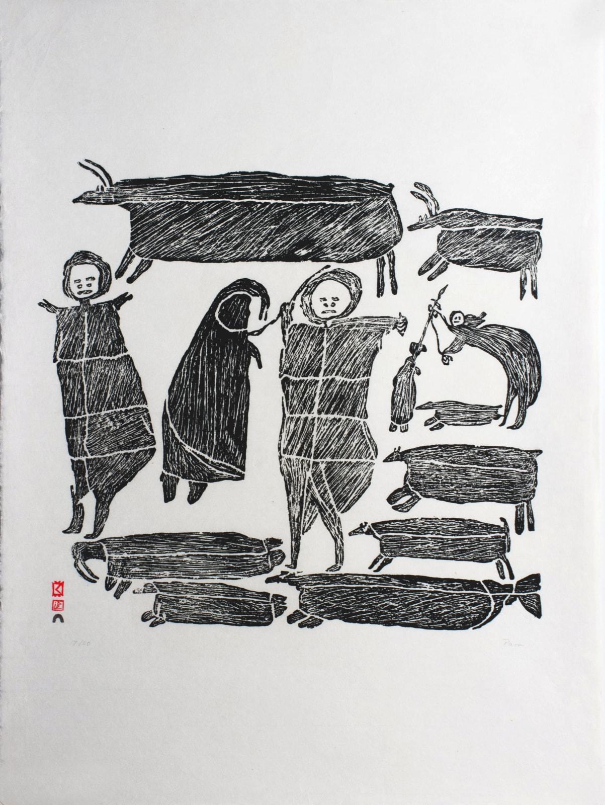 PARR (1893-1969) KINNGAIT (CAPE DORSET) The Hunters, 1962 #70 stonecut, 29.25 x 21 in (74.3 x 53.3 cm) $5,000