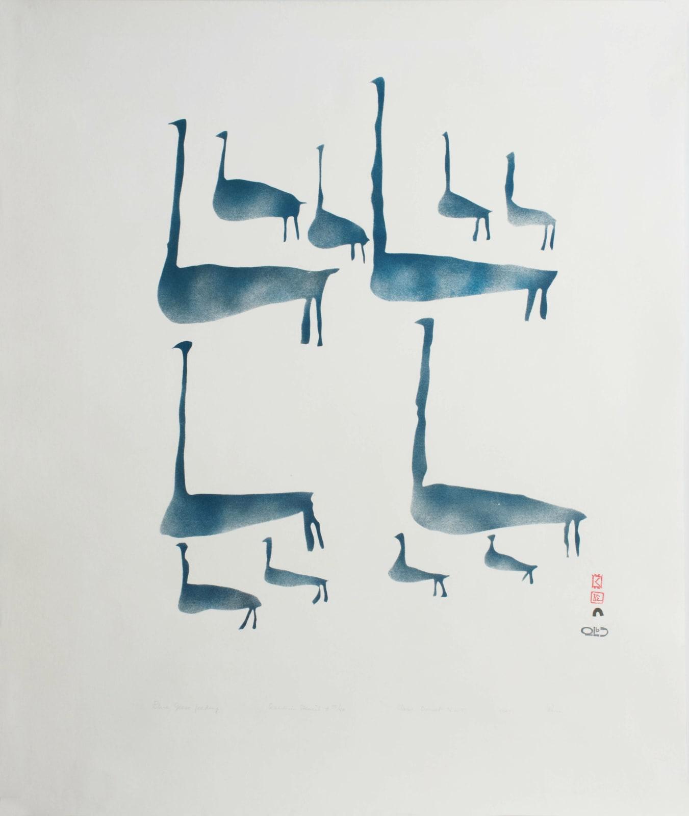• PARR (1893-1969) KINNGAIT (CAPE DORSET) Blue Geese Feeding, 1961 #39 stencil print, 30 x 25 in (76.2 x 63.5 cm) SOLD