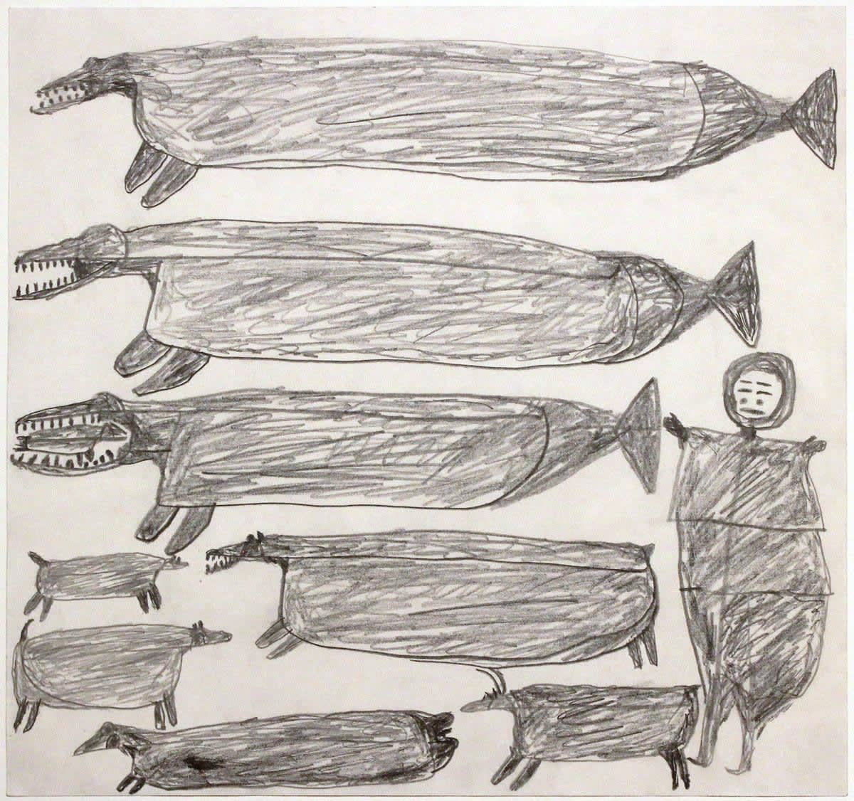 PARR (1893-1969) KINNGAIT (CAPE DORSET) Untitled (Hunter with Animals), c. 1962 graphite drawing, 17 x 18 in (43.2 x 45.7 cm) $7,500
