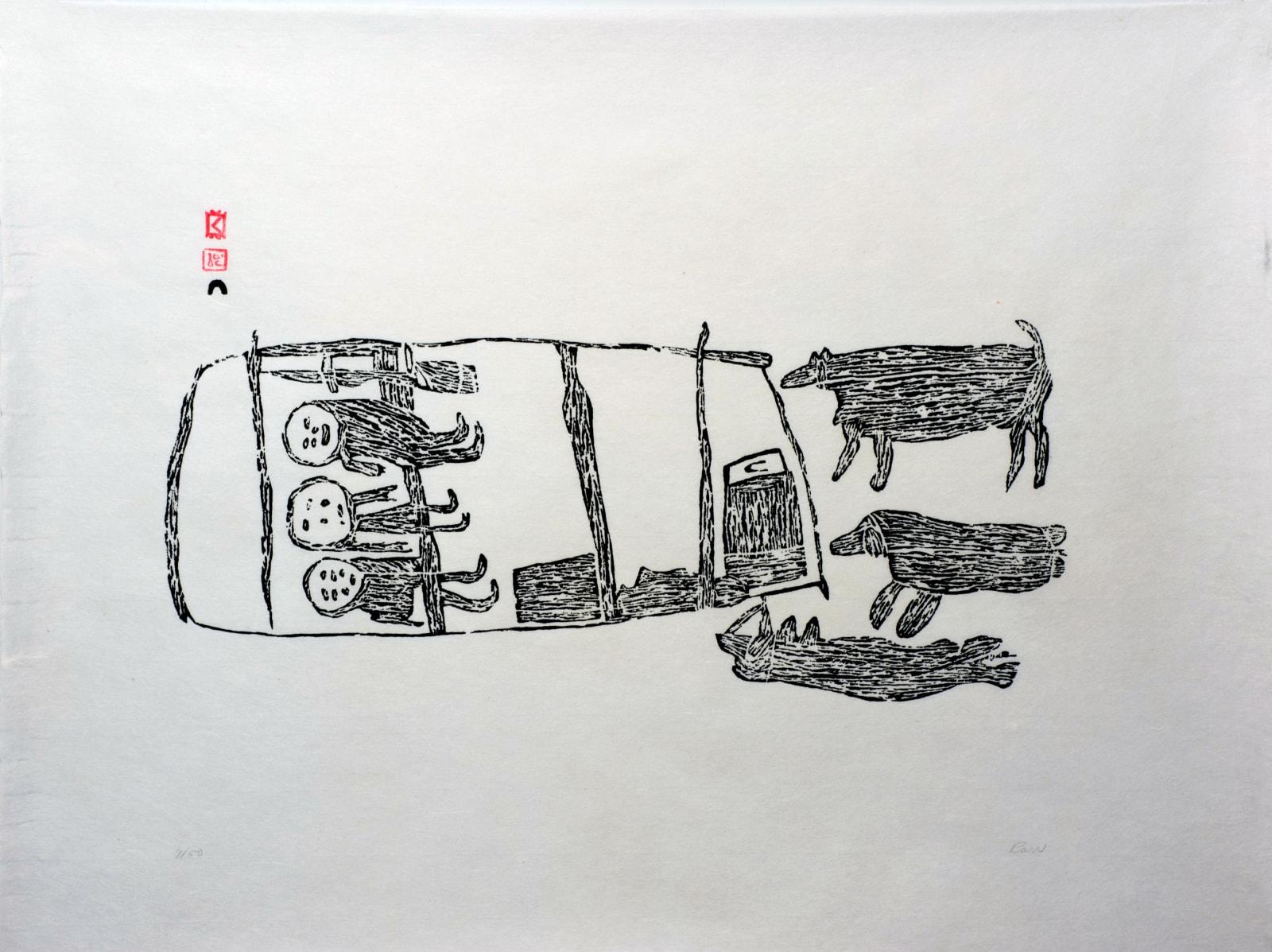 • PARR (1893-1969) KINNGAIT (CAPE DORSET) Day's End, 1962 #66 stonecut, 19.75 x 24.75 in (50.2 x 62.9 cm) SOLD