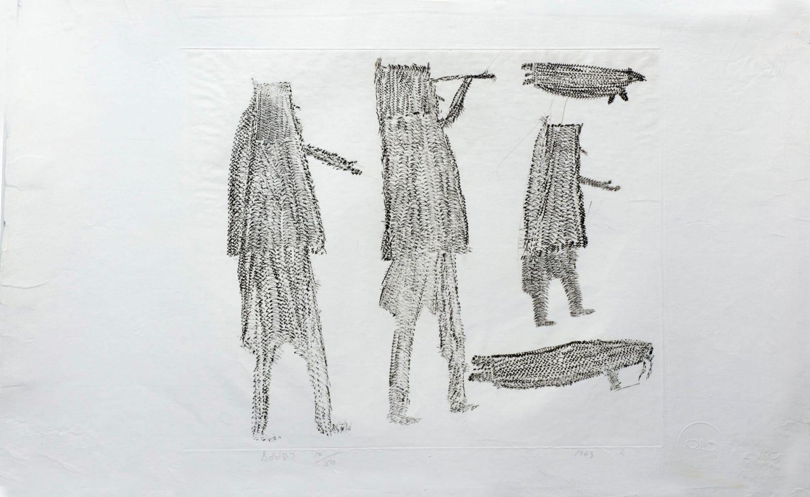 PARR (1893-1969) KINNGAIT (CAPE DORSET) Walrus Hunt, 1963 #42 engraving sheet: 12 1/4 x 15 1/4 in (31.1 x 38.7 cm) plate: 8 3/4 x 11 3/4 in (22.2 x 29.8 cm) $1,000