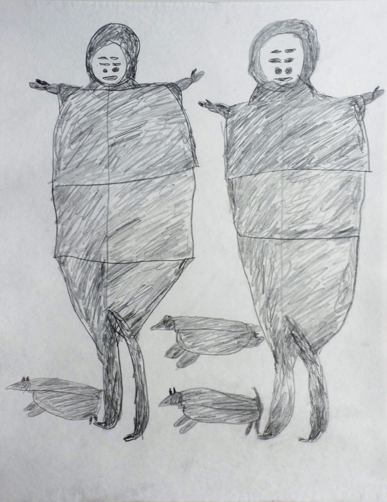 • PARR (1893-1969) KINNGAIT (CAPE DORSET) Untitled (Two Figures, Two Dogs and a Seal), c. 1961-63 graphite drawing, 24 x 19 in (61 x 48.3 cm) SOLD