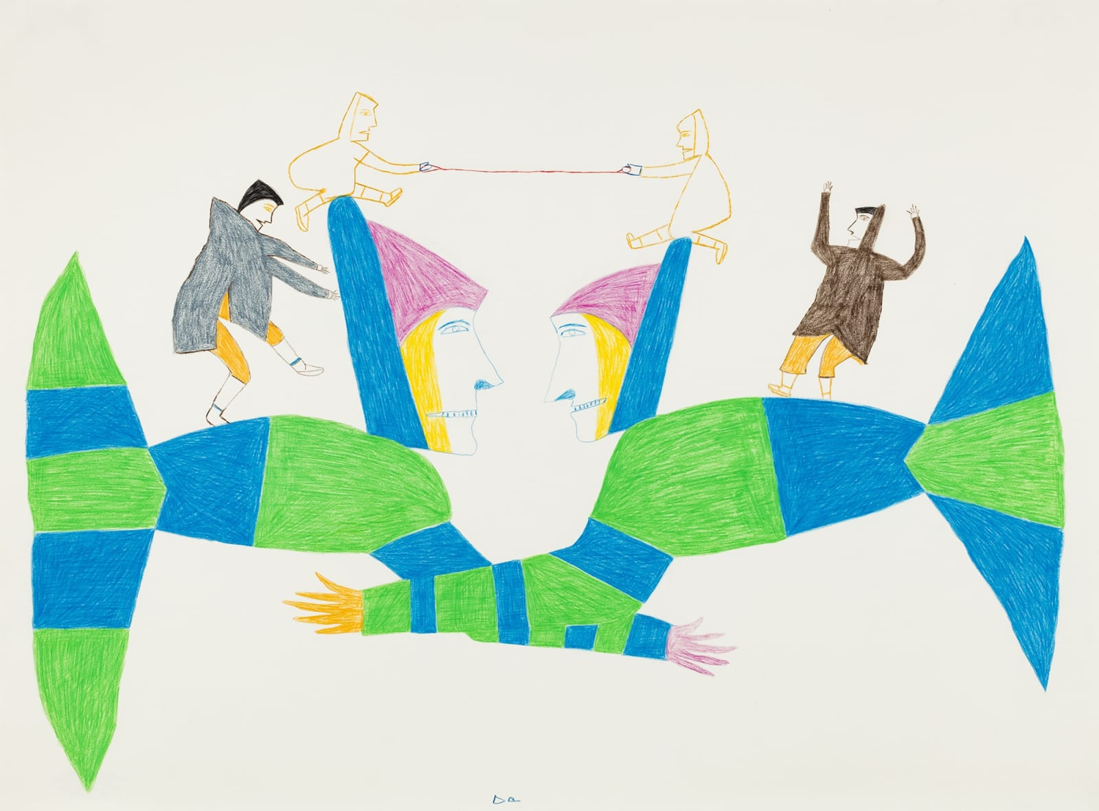 Lot 44 JESSIE OONARK, O.C., R.C.A (1906-1985) QAMANI'TUAQ (BAKER LAKE) Challenging Wrestle, c. 1975-76 coloured pencil drawing, 29.875 x 22.175 in (76 x 56 cm) Estimate: $6,000⁠ — $9,000 Price realized: $7,200